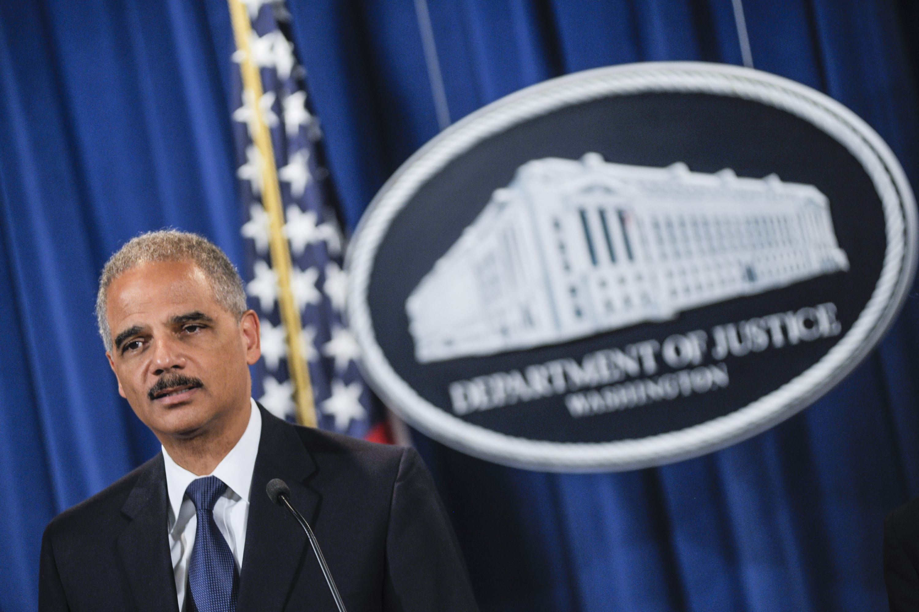 U.S. Attorney General Eric Holder speaks during a press conference announcing Department of Justice plans to sue North Carolina over Voter ID regulations at the Department of Justice on September 30, 2013 in Washington, D.C.