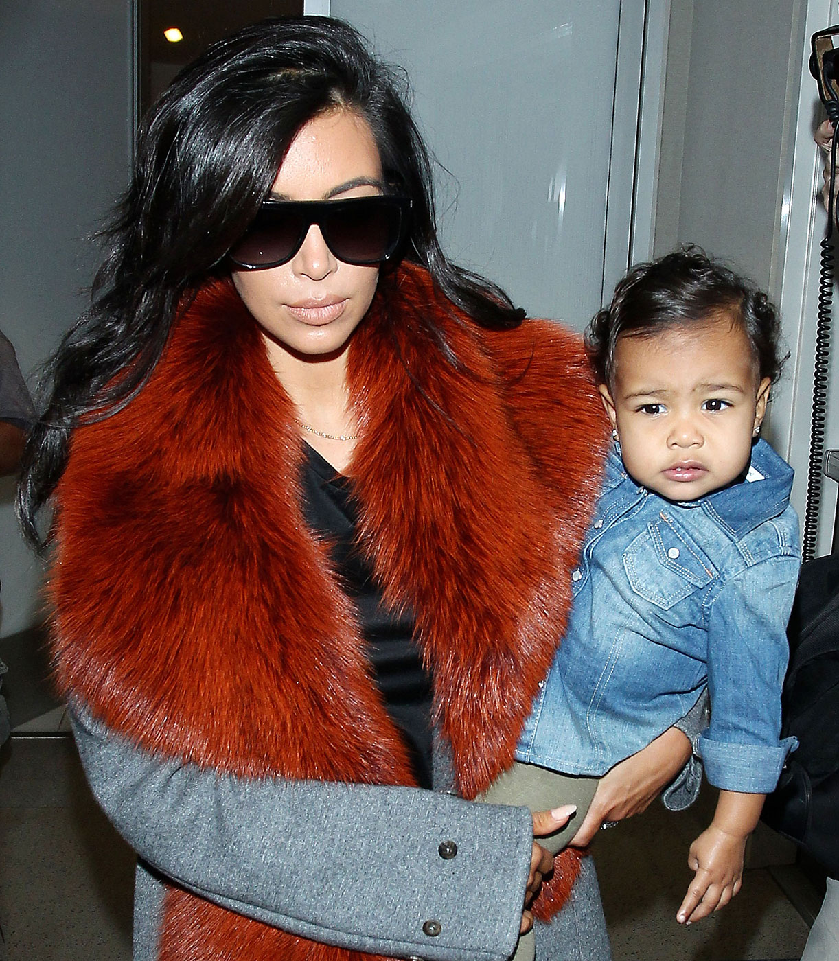 Kim Kardashian and baby North West at the Los Angeles International Airport on Sept. 22, 2014.
