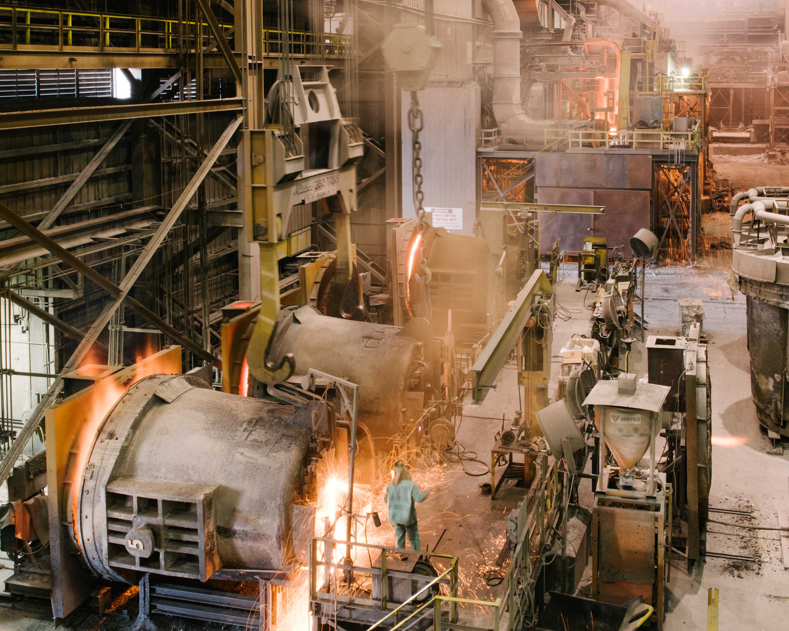 Nucor's Crawfordsville, Ind. steel mill. In this facility, scrap metal—old automobiles, appliances and construction parts—is melted, cast into slabs, and eventually rolled into large toilet paper-shaped coils of finished steel. The steel will soon be made into anything from industrial oil pipes to cars to buildings, Crawfordsville, Ind. on Aug. 25, 2014.