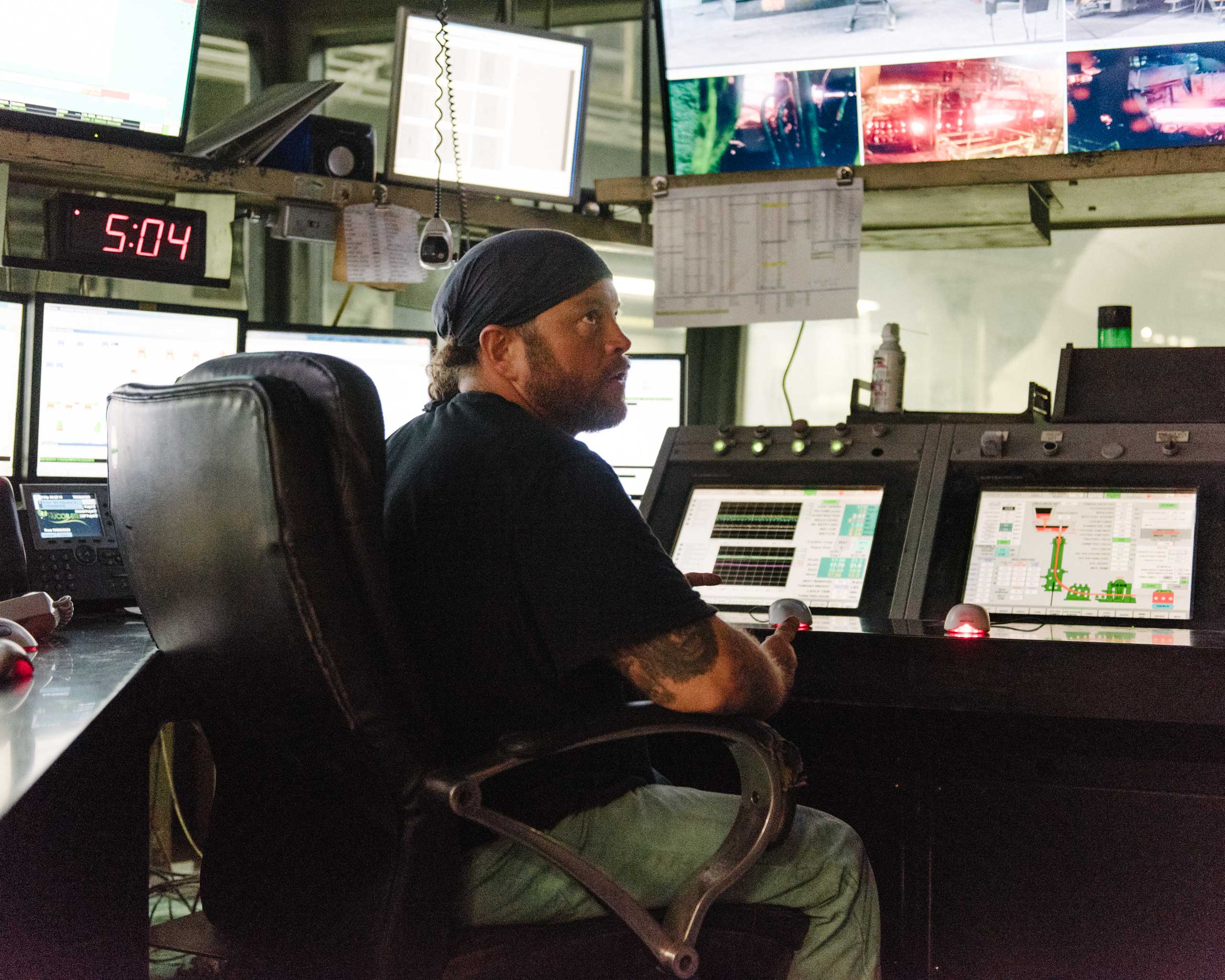 "When there's a  mechanical failure at the mill, it's all hands on deck, says 45-year-old Alan Fagan, pictured here. ""When you lose containment"" in the ladle carrying molten steel, ""the shell pops open and it squirts steel everywhere,"" Fagan says. ""Everyone dives in and helps each other,"" Crawfordsville, Ind. on Aug. 25, 2014."