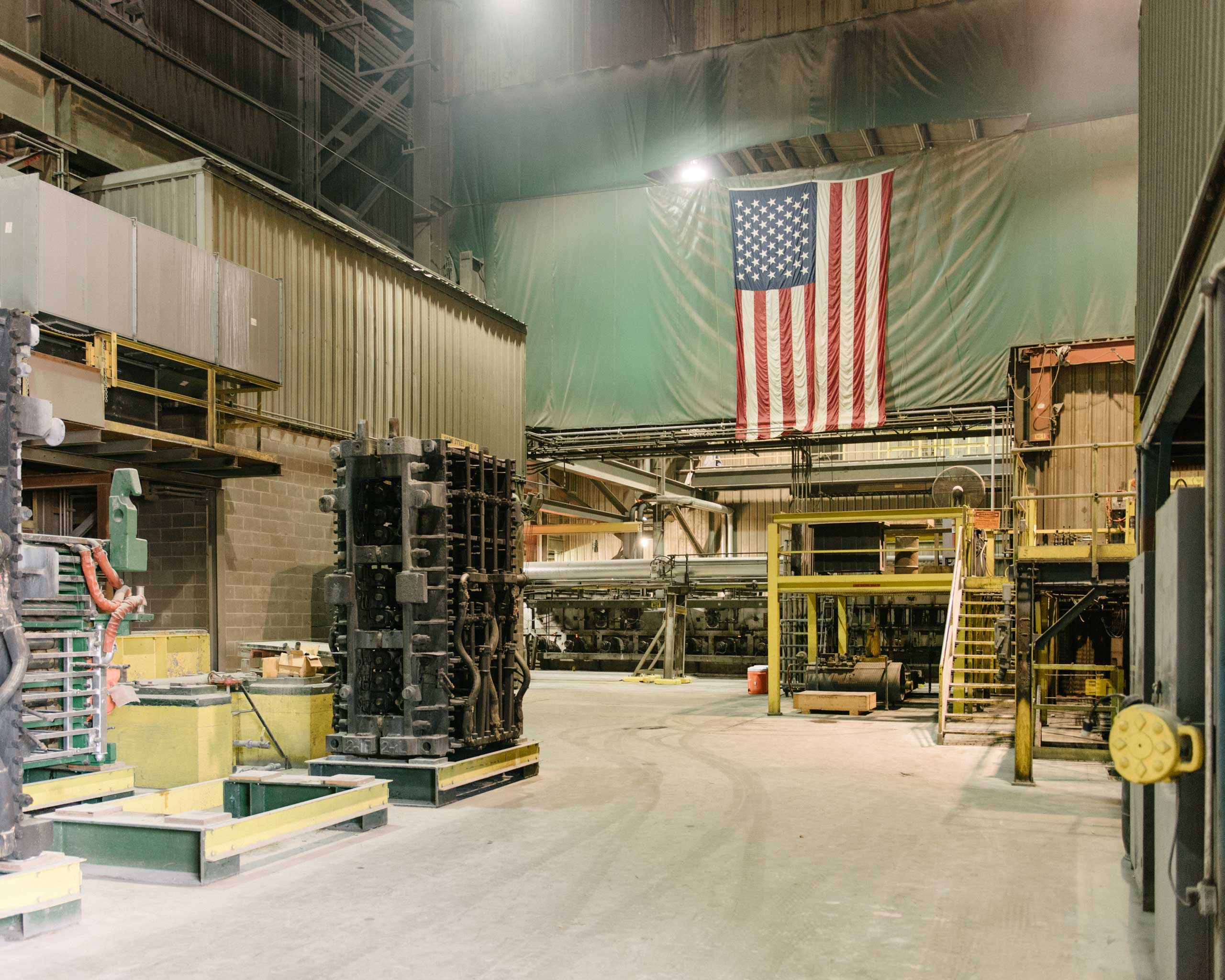 "American flags are found throughout Nucor's mills. ""The American worker will outcompete anyone in the world,"" says CEO John Ferriola. ""That's why we're an American company,"" Crawfordsville, Ind. on Aug. 25, 2014."