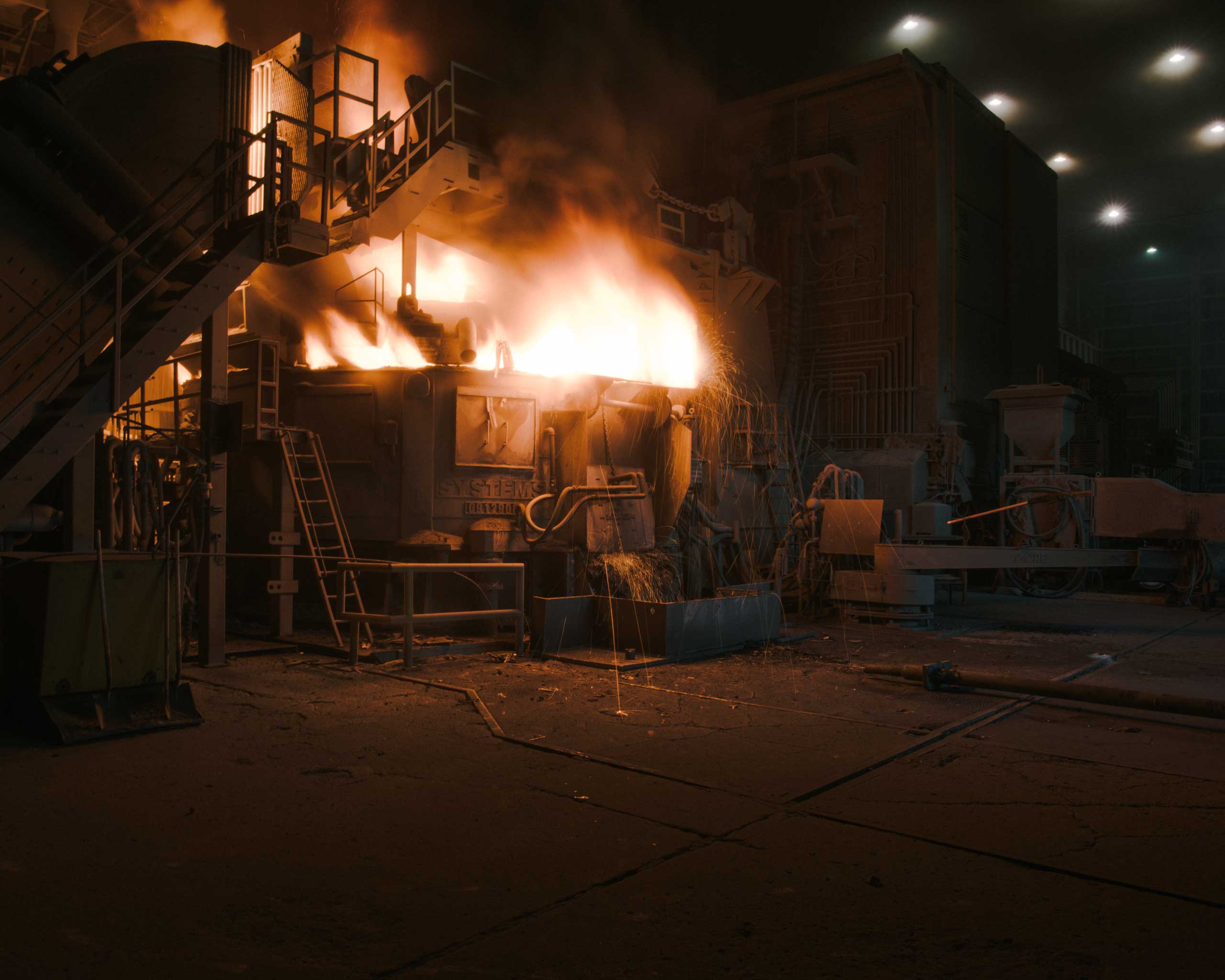 Nucor melts scrap at close to 3,000 degrees                                   Fahrenheit in furnaces like this one, Crawfordsville, Ind. on Aug. 25, 2014.