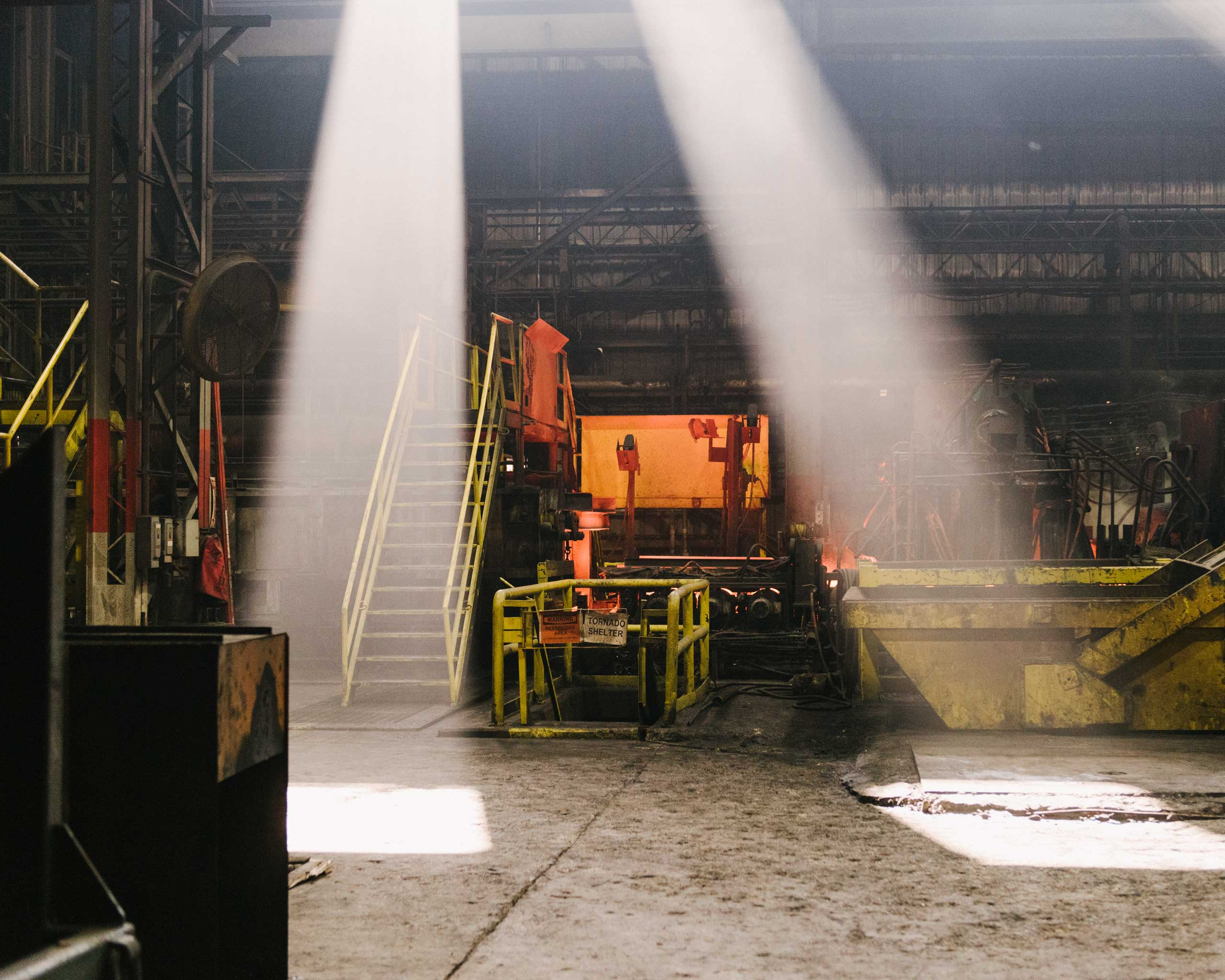 Steel slabs are prepared in this chamber before they are thinned into long sheets, Crawfordsville, Ind. on Aug. 25, 2014.
