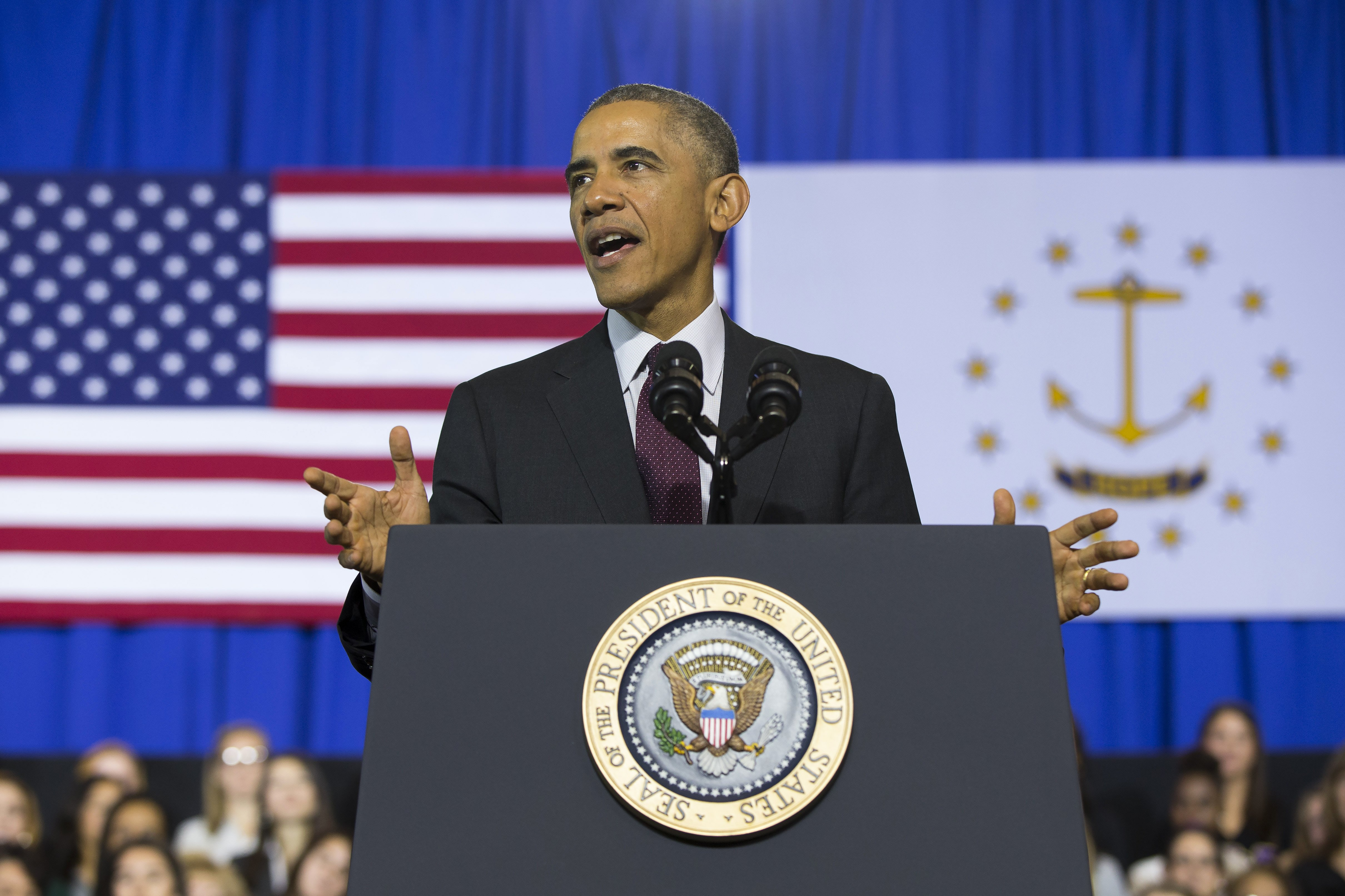 President Barack Obama speaks about the economy at Rhode Island College in Providence, R.I. on Oct. 31, 2014.