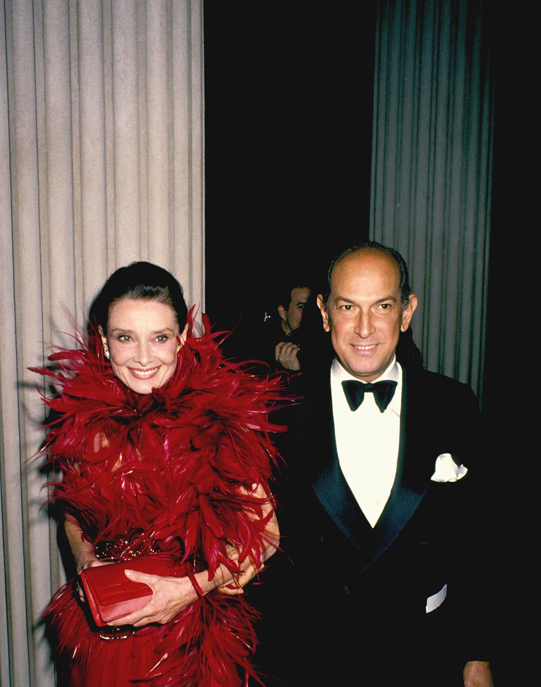 Audrey Hepburn and Oscar de la Renta during the 1988 Council of Fashion Designers of America Awards at Metropolitan Museum of Art in New York City.
