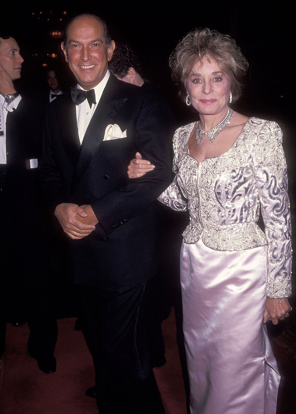 Oscar de la Renta and  Barbara Walters attend Brooke Astor's 90th Birthday Celebration on March 5, 1992 at the Seventh Regiment Armory in New York City.