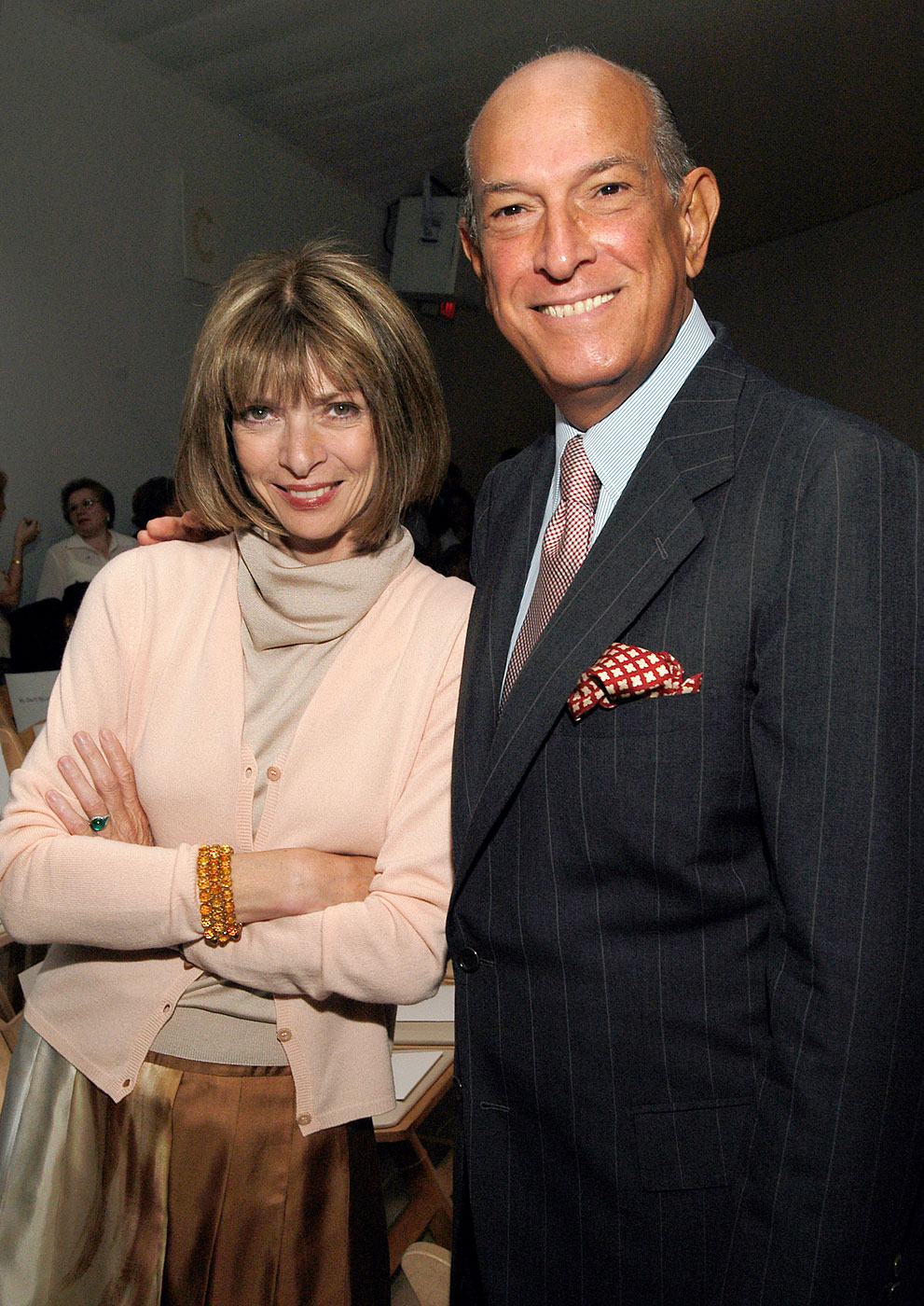 Anna Wintour and Oscar de la Renta during the Mercedes-Benz Fashion Week Spring 2004  at Bryant Park in New York City, New York.