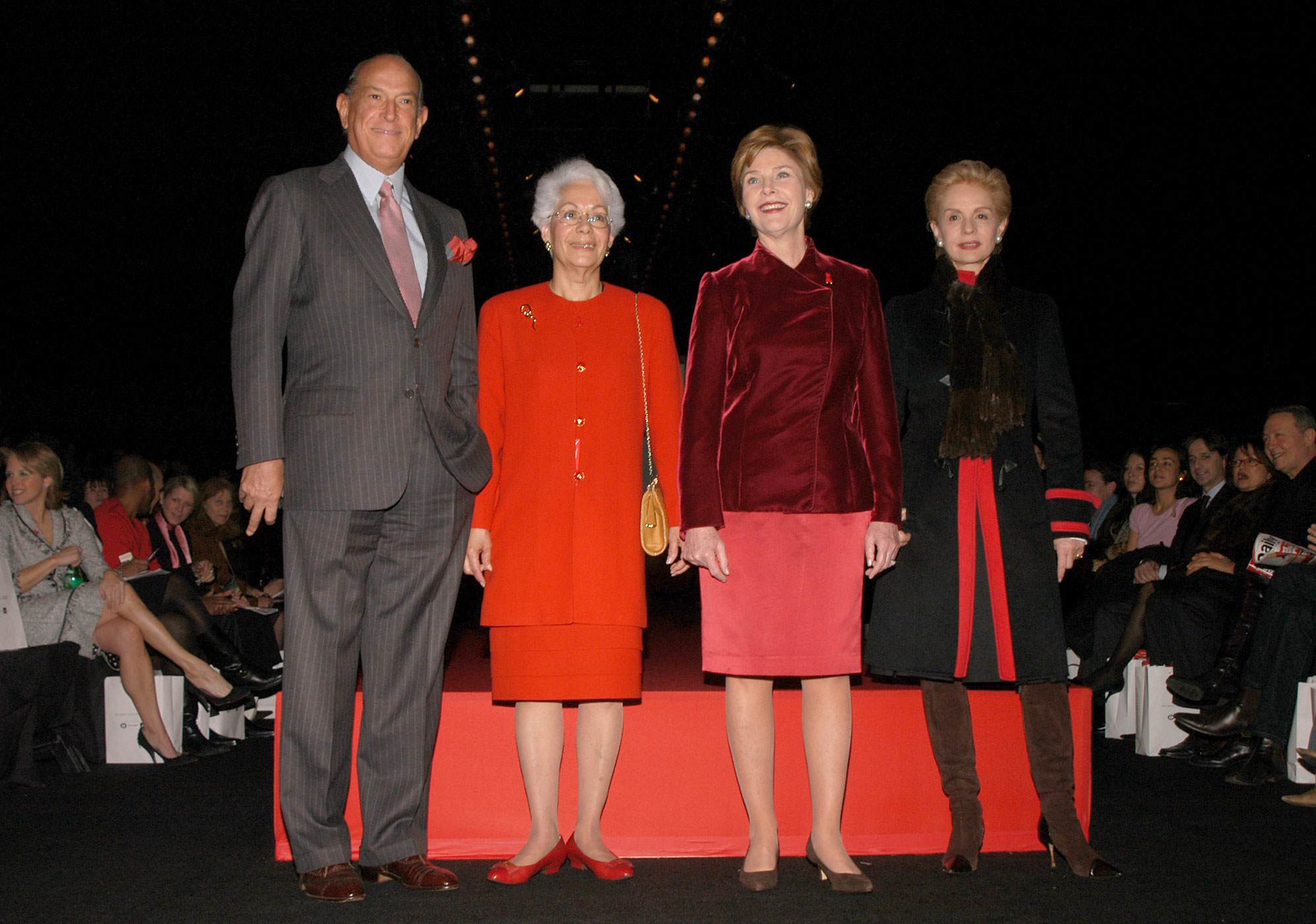 Oscar De La Renta with Elizabeth Nabel, First Lady Laura Bush, and Carolina Herrera at the Heart Truth Red Dress Collection fashion show.