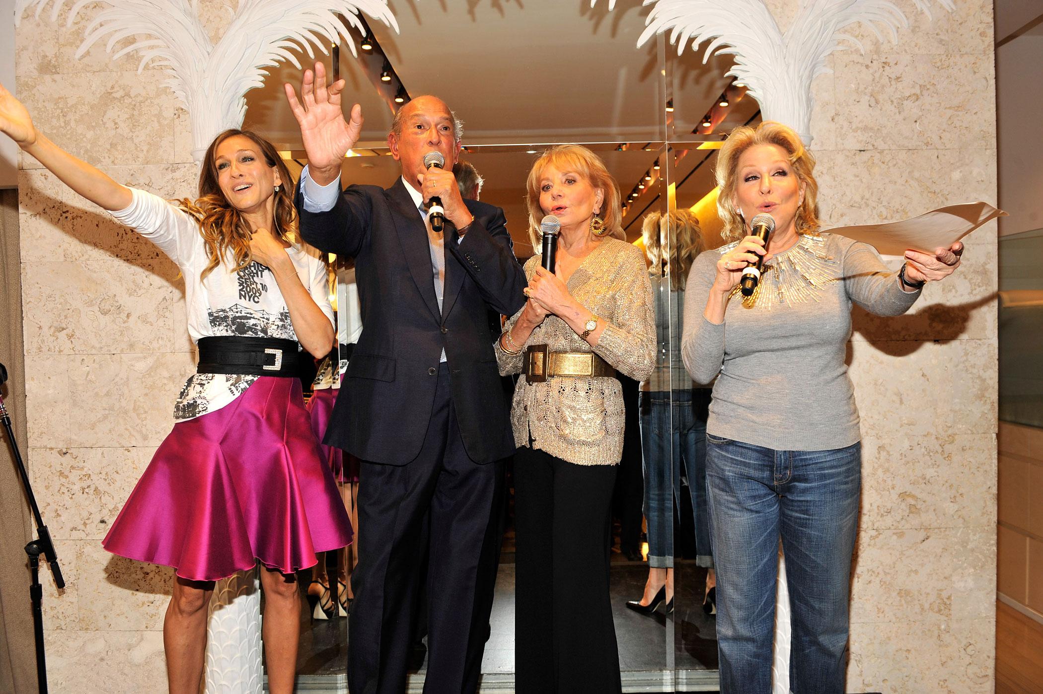 Sarah Jessica Parker, Barbara Walters, Oscar de la Renta and Bette Midler attend the Oscar de la Renta Fashion's Night Out party at the Oscar de la Renta Boutique on September 10, 2009 in New York City.