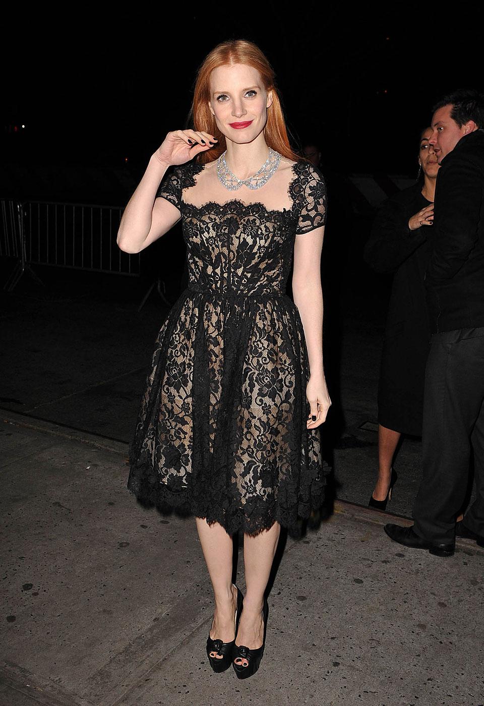Jessica Chastain wears Oscar de la Renta on January 7, 2013 in New York City.
