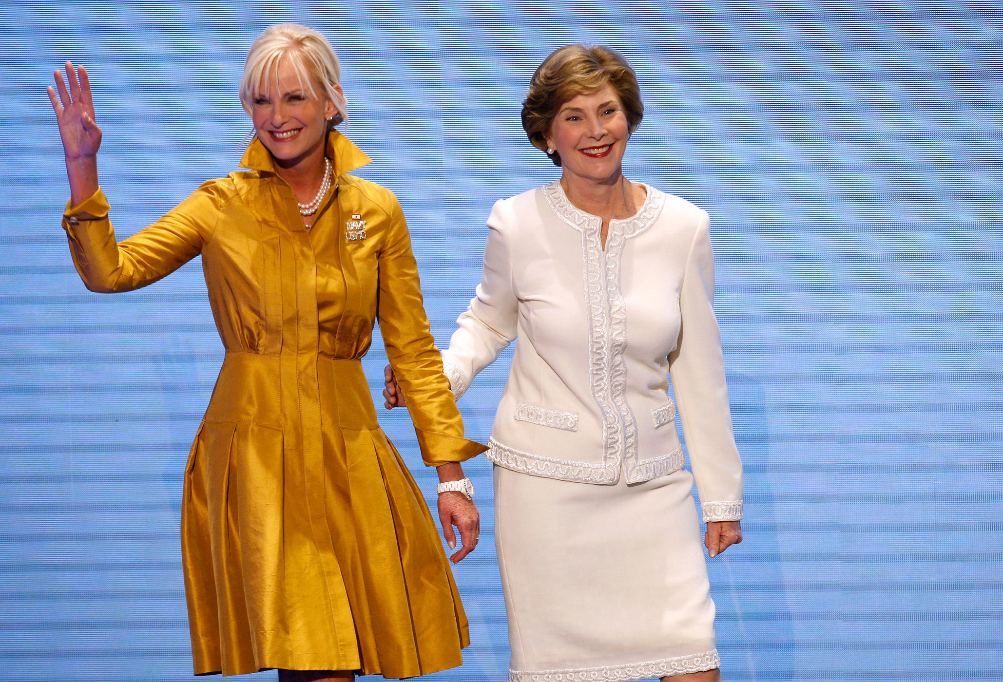 Cindy McCain and first lady Laura Bush both wear Oscar de la Renta  to the 2008 Republican National Convention in St. Paul, Minnesota, September 1, 2008.