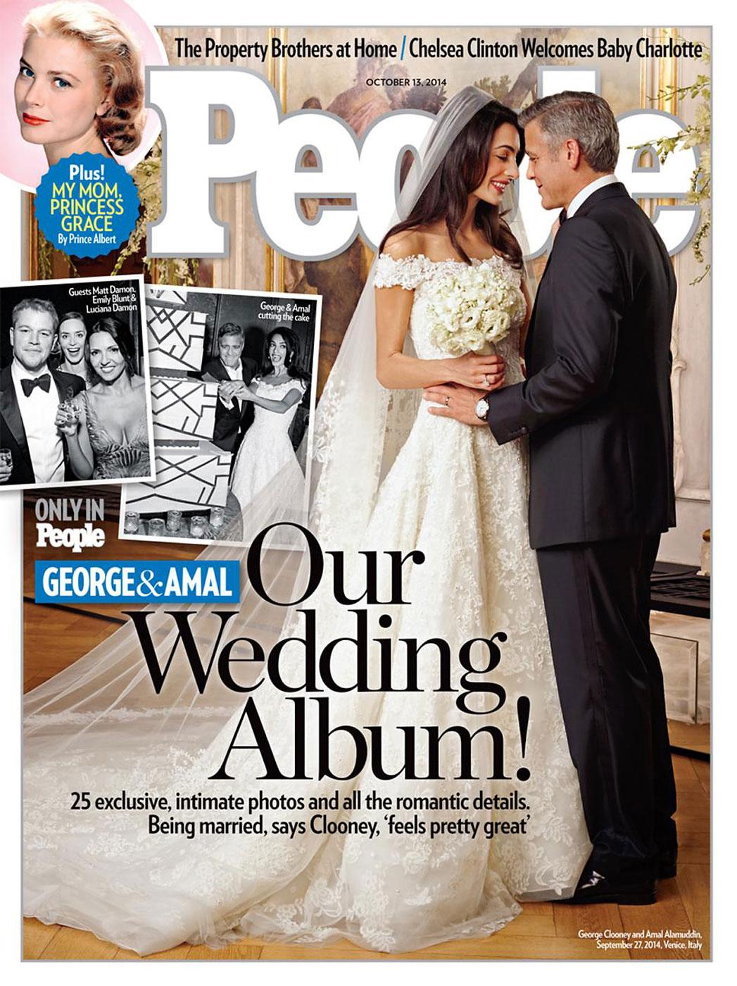 Amal Alamuddin wore an Oscar de la Renta dress for her wedding with George Clooney.