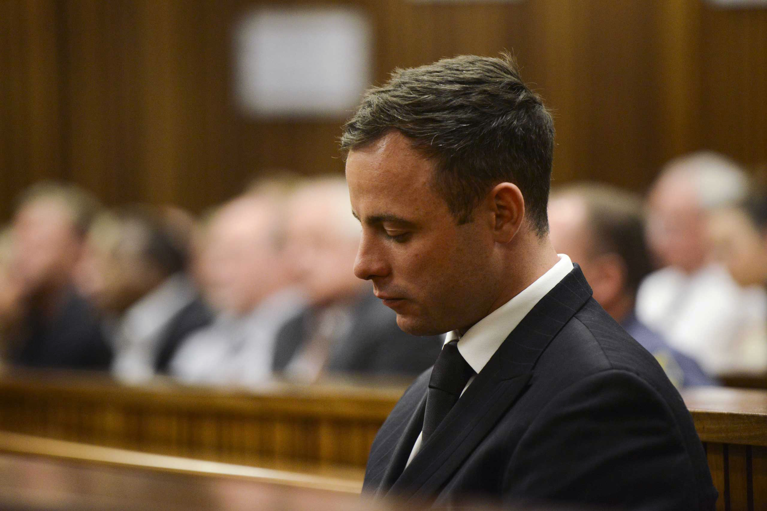 Oscar Pistorius after he is sentenced at the Pretoria High Court on October 21, 2014, in Pretoria, South Africa.
