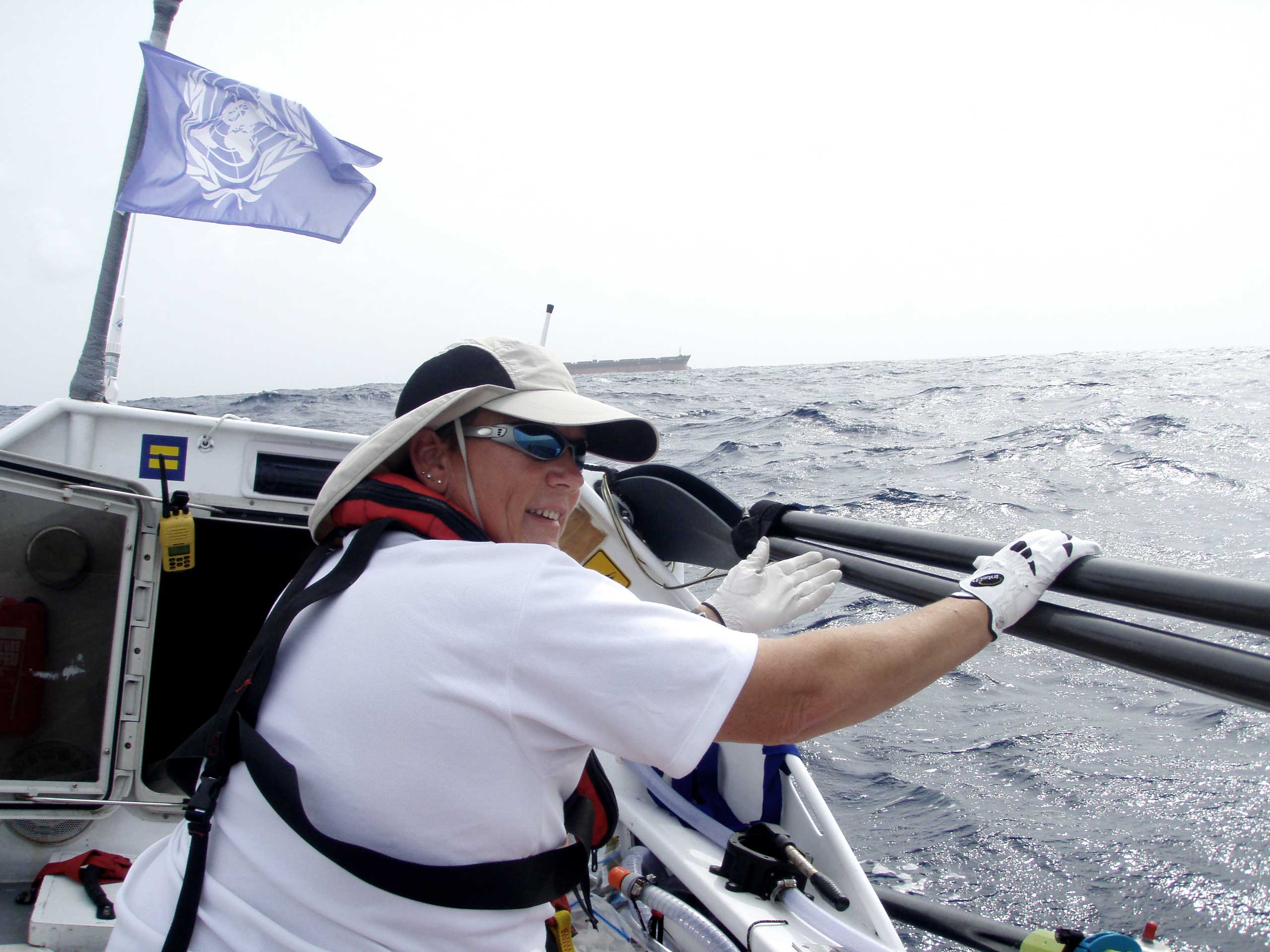 Angela Madsen during her first row across the Atlantic Ocean in 2007.