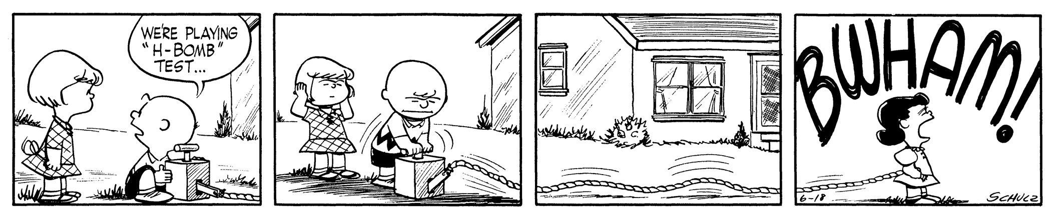 """Peanuts, June 18, 1954 The United States carried out the first test of a thermonuclear weapon in 1952. Russia tested a hydrogen bomb in 1953, and several other countries soon followed suit. The innocuous """"H-Bomb"""" game played by Charlie Brown, Lucy, and Patty, contrasts their innocence with the real threat of global atomic warfare."""