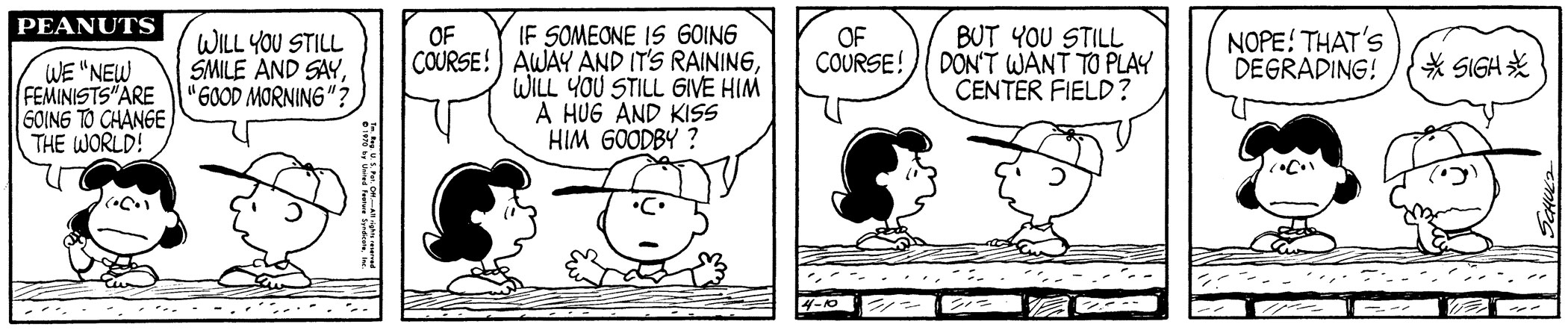Peanuts, April 10, 1970 By the early 1970s, the National Organization for Women had more than 400 local chapters. Together with the National Women's Political Caucus and other advocacy groups, they pressed for gender reform on issues such as equal pay, education, and reproductive rights. With her outspoken and unabashed persona, Lucy Van Pelt spoke to the ideology of the feminist movement in Peanuts.