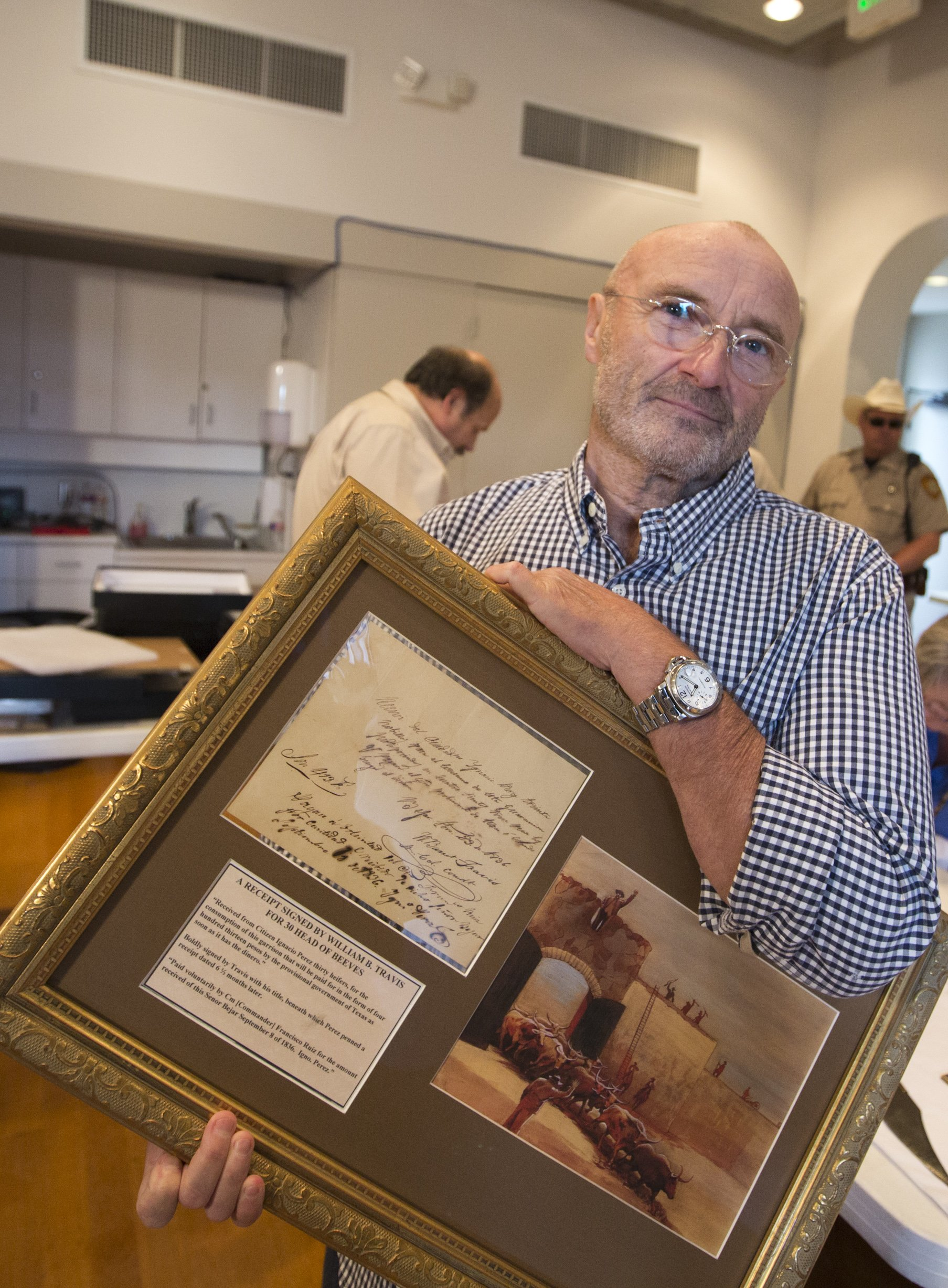 British music legend, Phil Collins donates what is considered the biggest collection of Alamo artifacts to the people of Texas on Oct. 28, 2014.