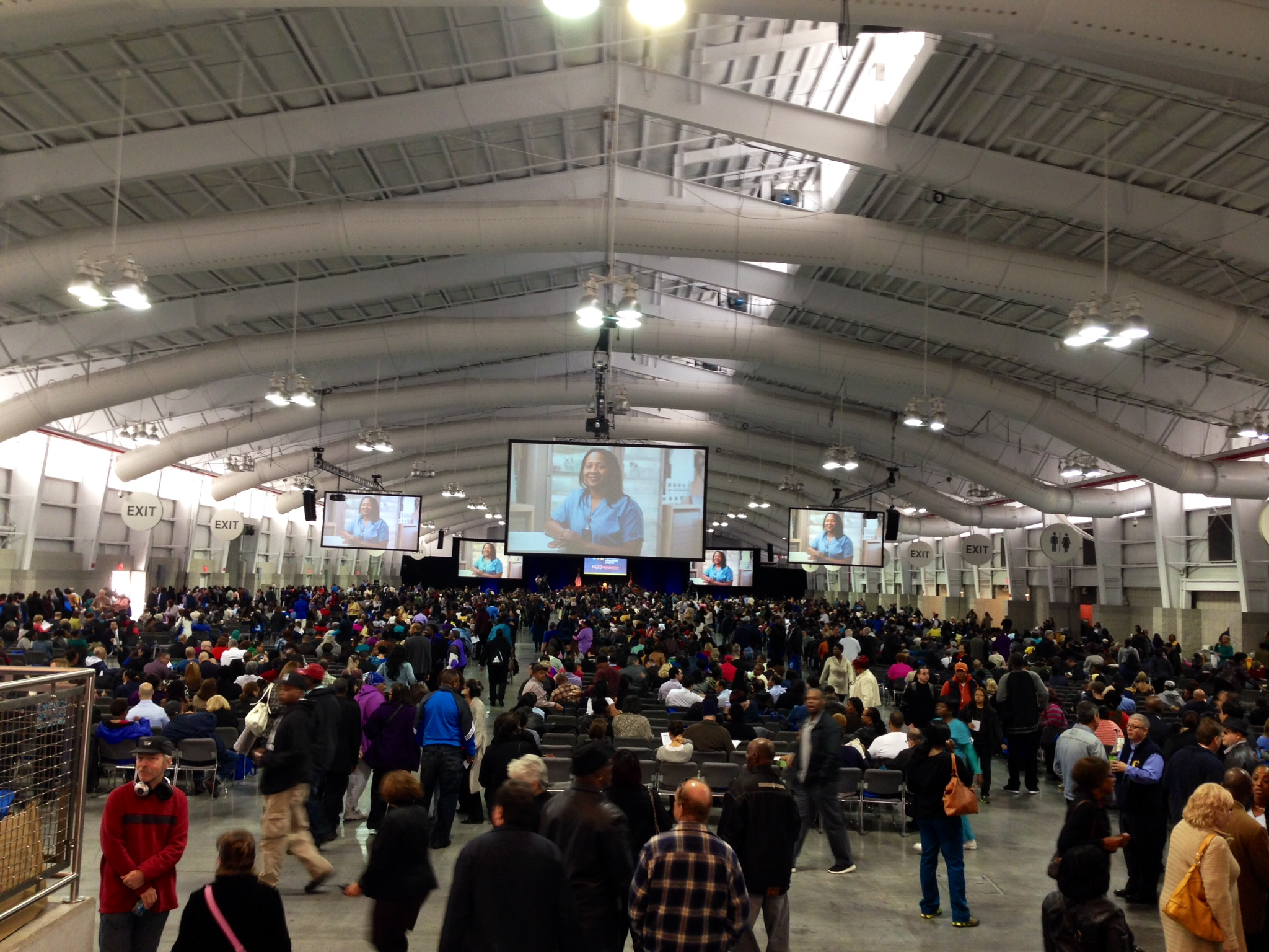 Over 5,000 health care workers gather in the Javtis Center in New York City to attend an Ebola education session.