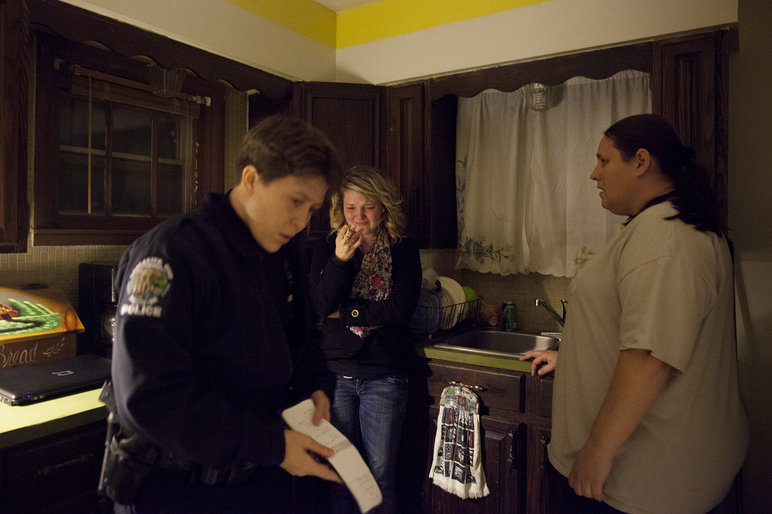 Around half past midnight, the police arrived after receiving a call from a resident in the house (pictured at right). Maggie cried and smoked a cigarette as an officer from the Lancaster Police Department tried to keep her separated from Shane and coax out the truth about the assault.