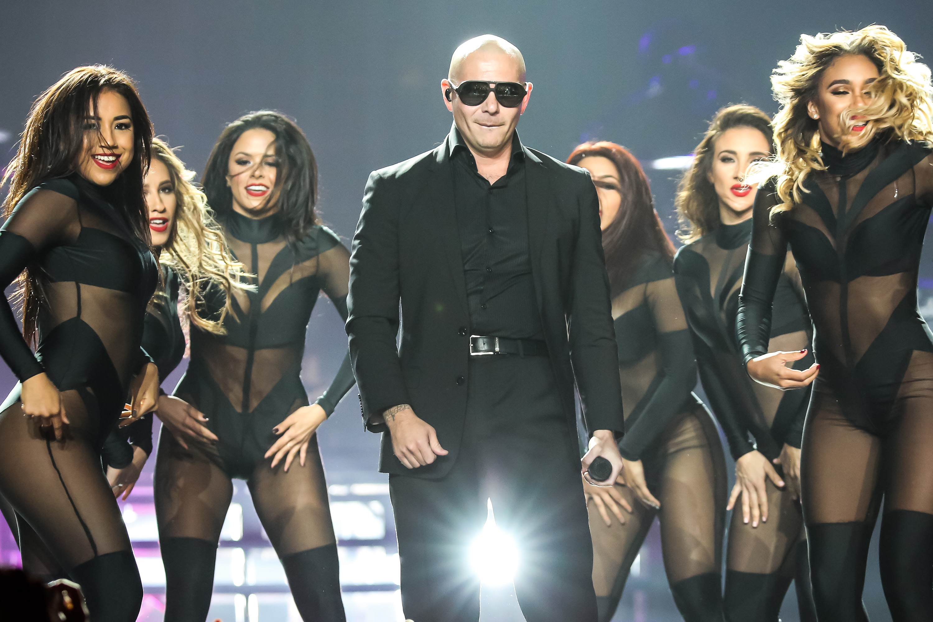 Rapper Pitbull performs at Staples Center on Oct. 10, 2014 in Los Angeles.