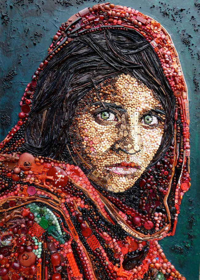 The Afghan Girl, from a photograph by Steve McCurry