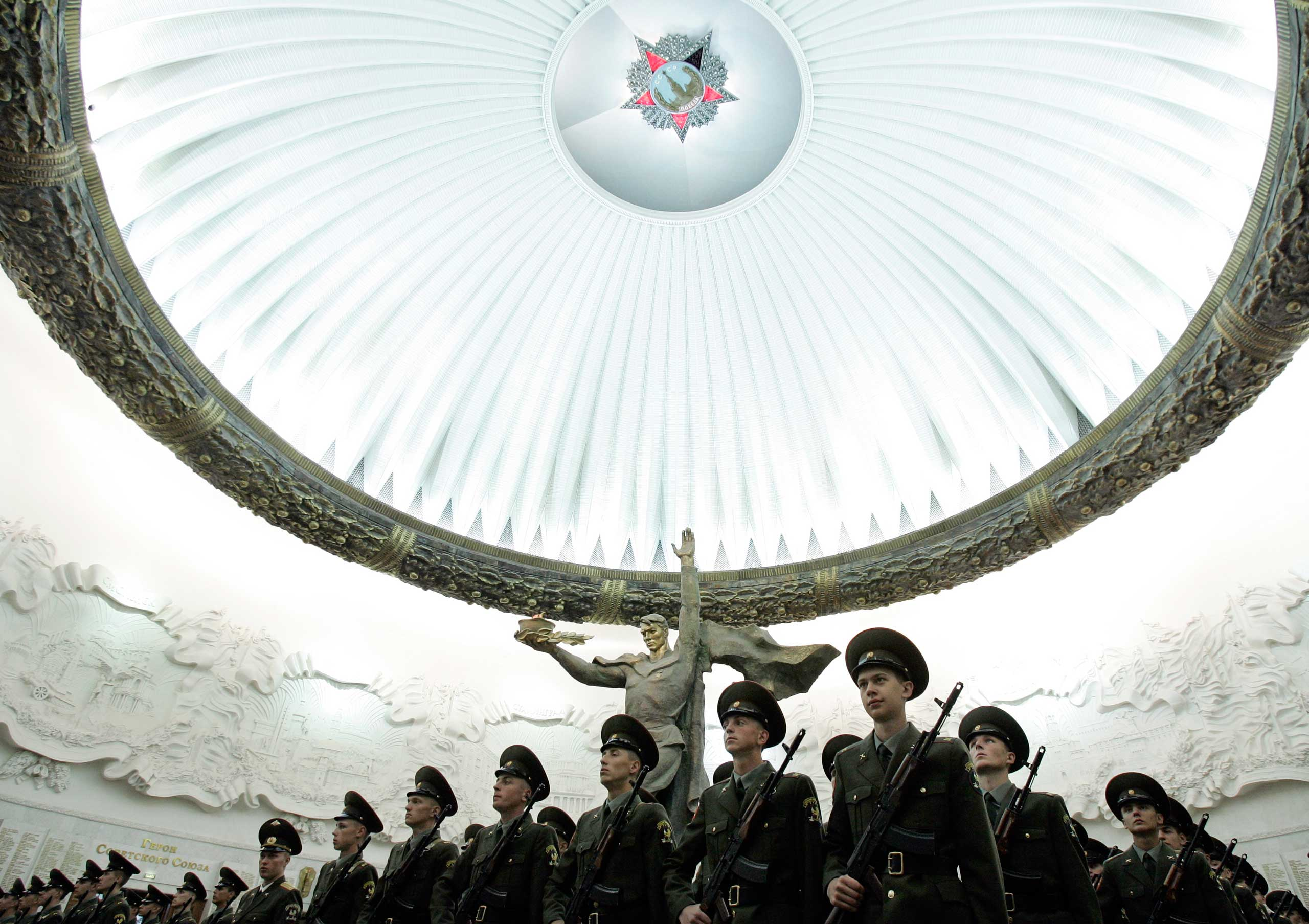 Soldiers stand in formation as they swear an oath at the World War Two museum on Poklonnaya Gora in Victory Park, Moscow in 2007.
