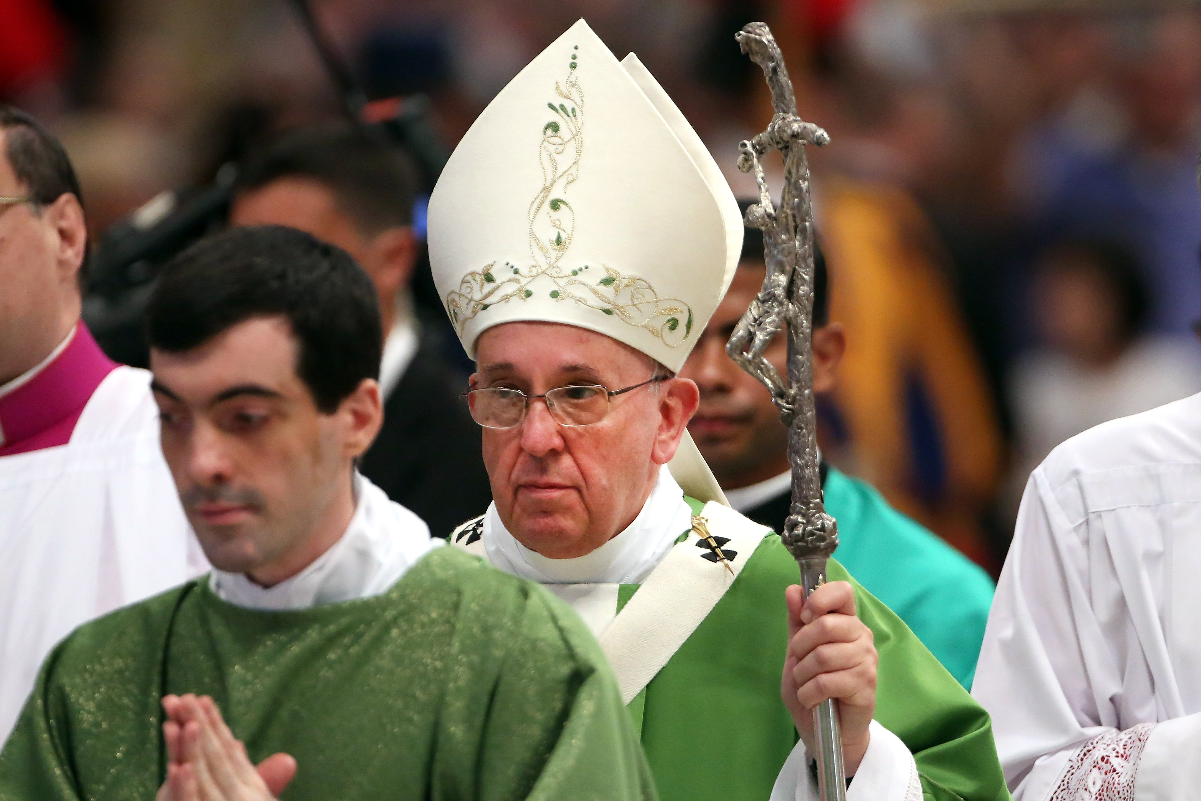 Pope Francis attends the Opening Mass of the Synod of Bishops in St. Peter's Basilica on Oct. 5, 2014 in Vatican City.