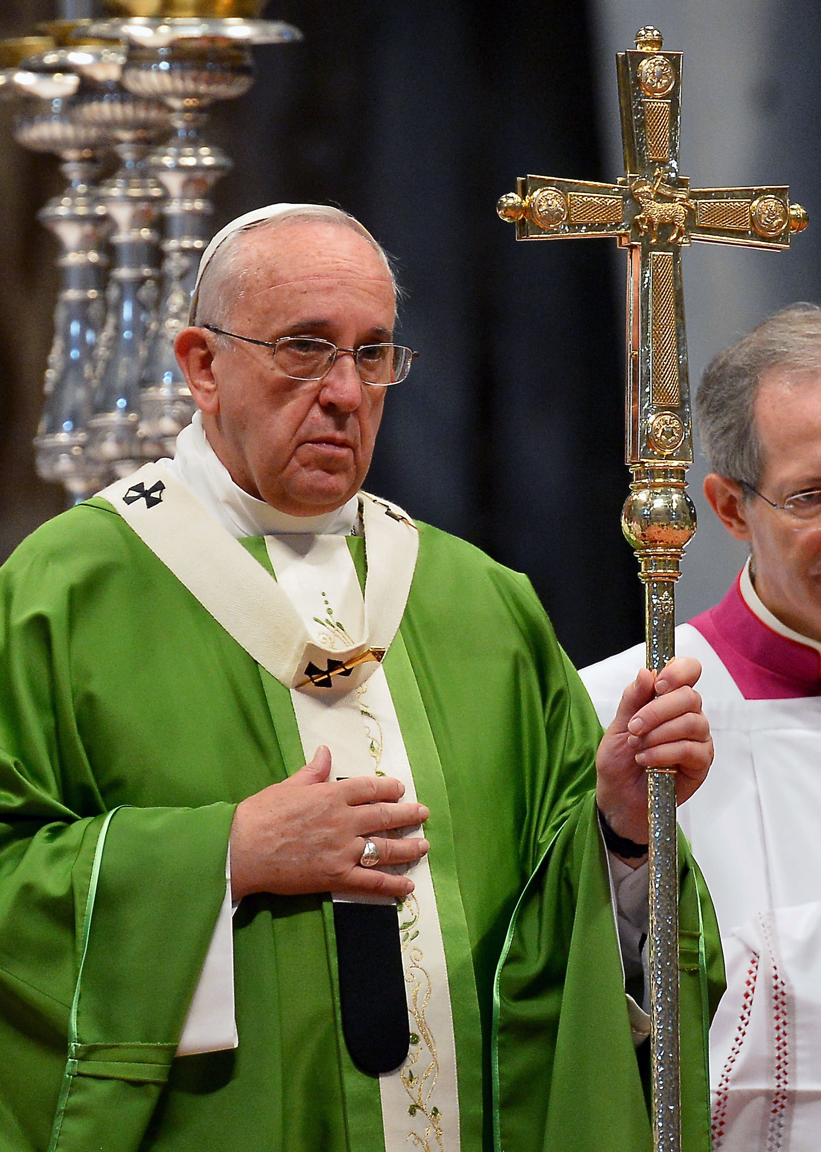 Pope Francis leads a mass honouring the canonisation of two Canadian saints in St. Peter's basilica at the Vatican on Oct. 12, 2014.