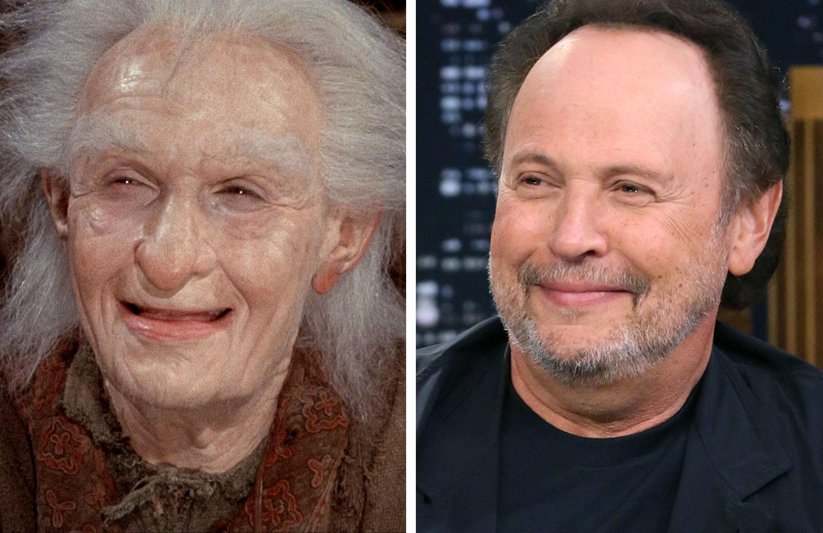 Left, Billy Crystal as Miracle Max in The Princess Bride, 1987; At right, Billy Crystal  in 2014.