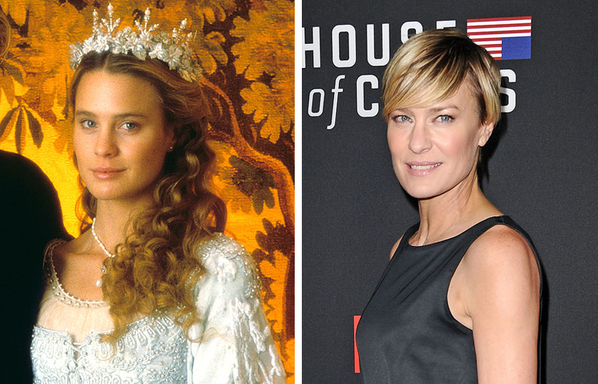 Left, Robin Wright as The Princess Bride in The Princess Bride, 1987; At right, Robin Wright in 2014.