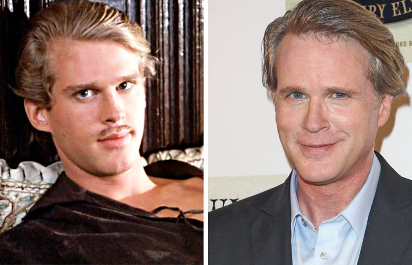 Left, Cary Elwes as Westley in The Princess Bride, 1987; At right, Cary Elwes in 2014.
