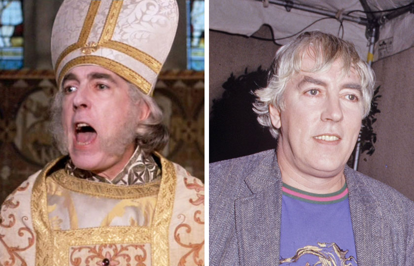 Left, Peter Cook as The Impressive Clergyman in The Princess Bride, 1987; At right, Peter Cook in 1987.
