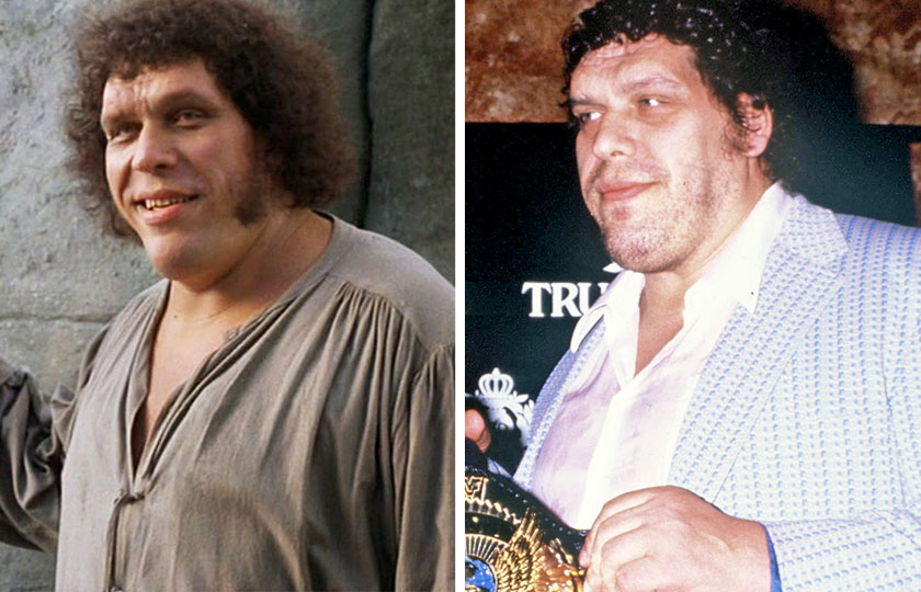 Left, Andre the Giant as Fezzik in The Princess Bride, 1987; At right, Andre the Giant in 1988.