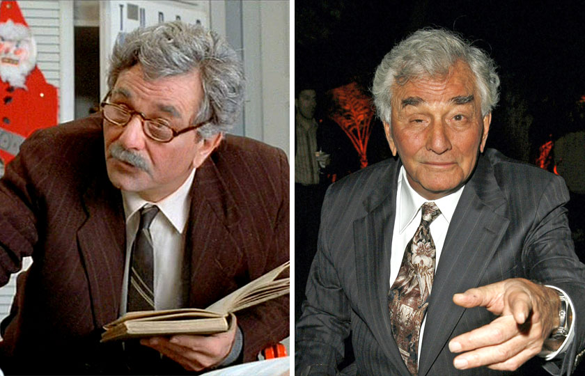 Left, Peter Falk as The Grandfather / Narrator in The Princess Bride, 1987; At right, Peter Falk in 2014.