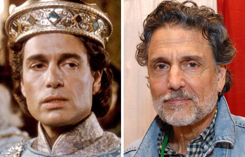 Left, Chris Sarandon as Prince Humperdinck in The Princess Bride, 1987; At right, Chris Sarandon in 2014.
