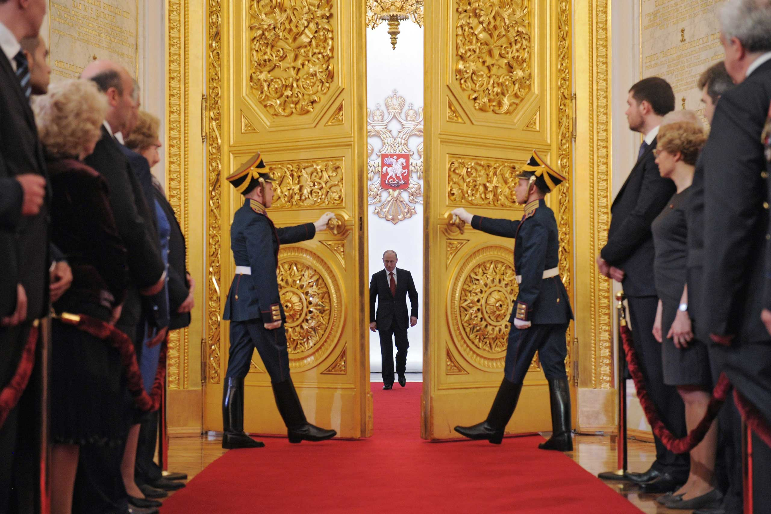 President Putin at the Great Kremlin Palace in Moscow on May 7, 2012, during his inauguration ceremony.