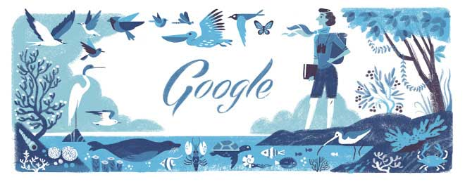"<strong>May 27, 2014</strong> For the <a href=""http://time.com/118453/rachel-louise-carson-google-doodle/"" target=""_blank"">Rachel Louise Carson doodle</a>, the team surrounded her with birds and sea creatures to celebrate her 107th birthday."