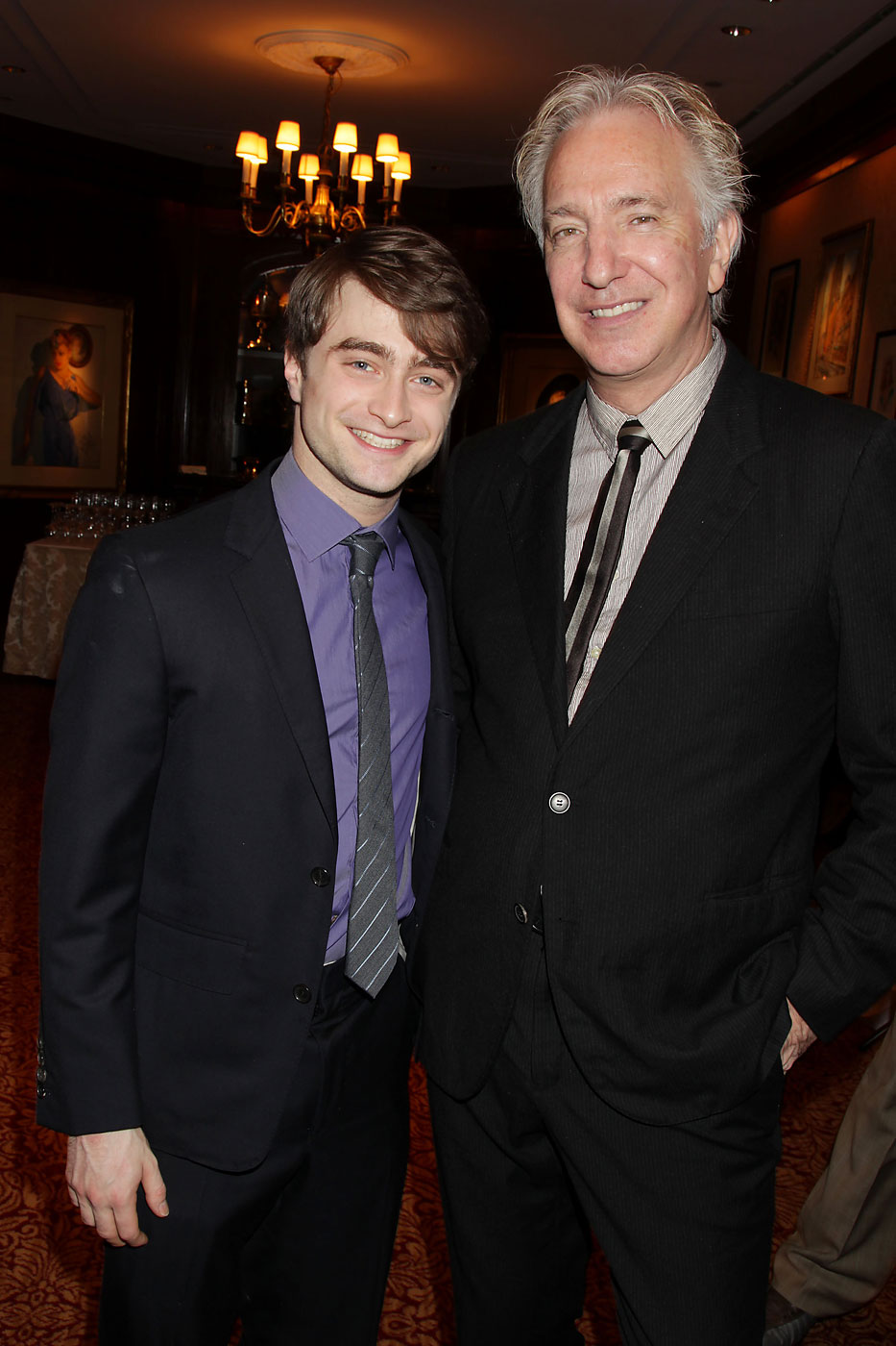 Daniel Radcliffe and Alan Rickman at a luncheon for  Harry Potter and the Deathly Hallows Part 2,  at 21 Club, Monday, Nov. 21, 2011, in New York.