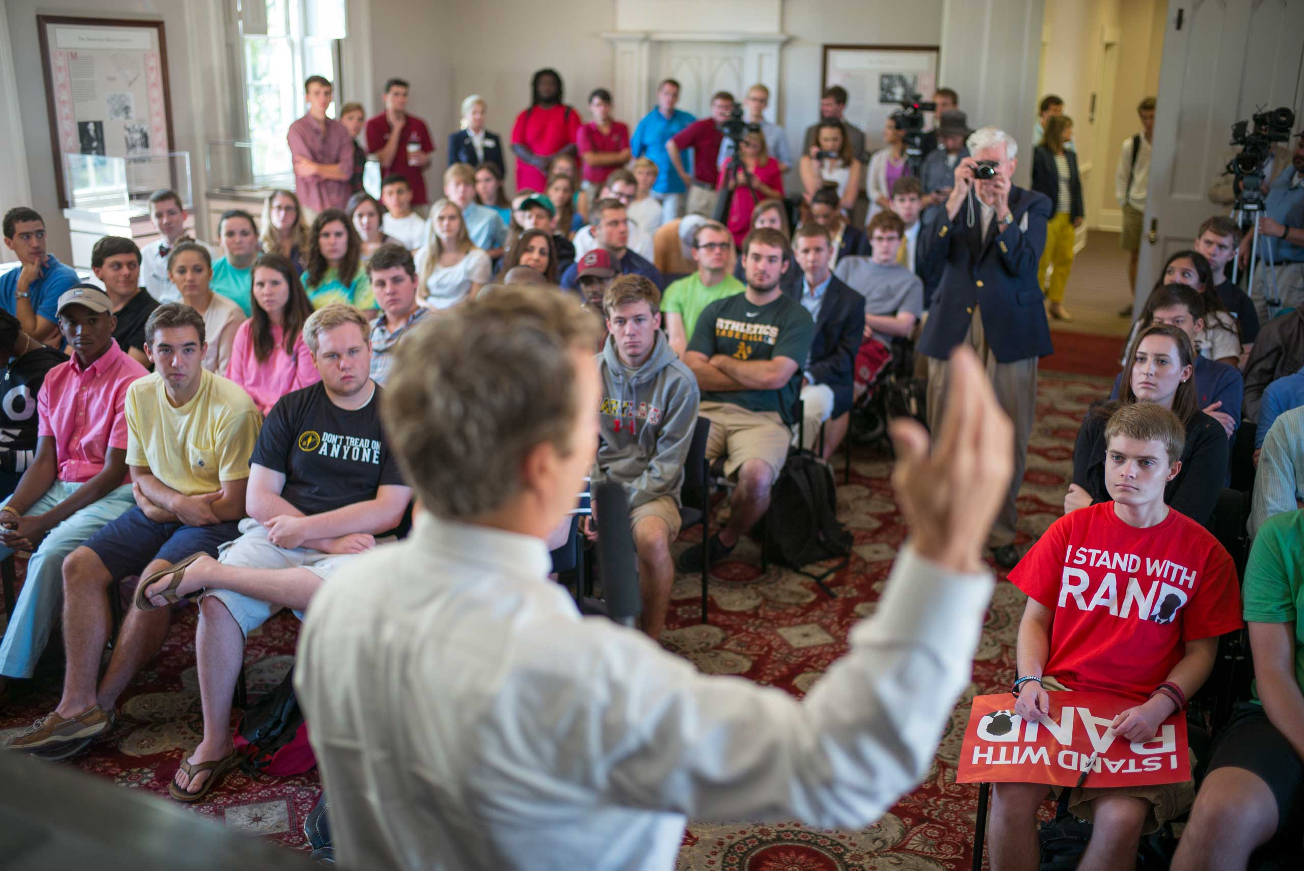 Senator Rand Paul talks with students at the University of South Carolina in Columbia, S.C. on Sept. 30th, 2014.
