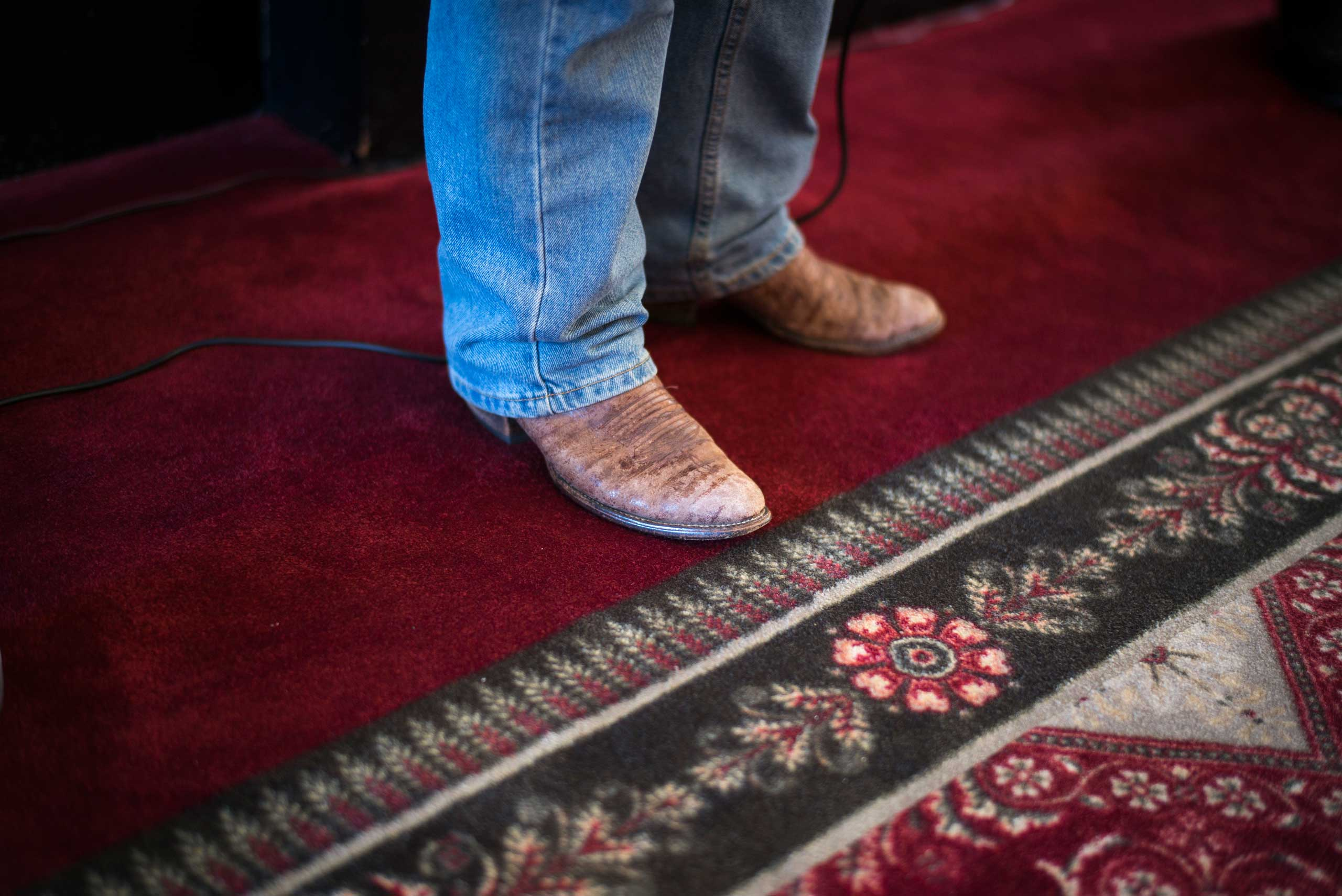 Senator Rand Paul's boots are seen as he talks with students at the University of South Carolina in Columbia, S.C. on Sept. 30th, 2014.