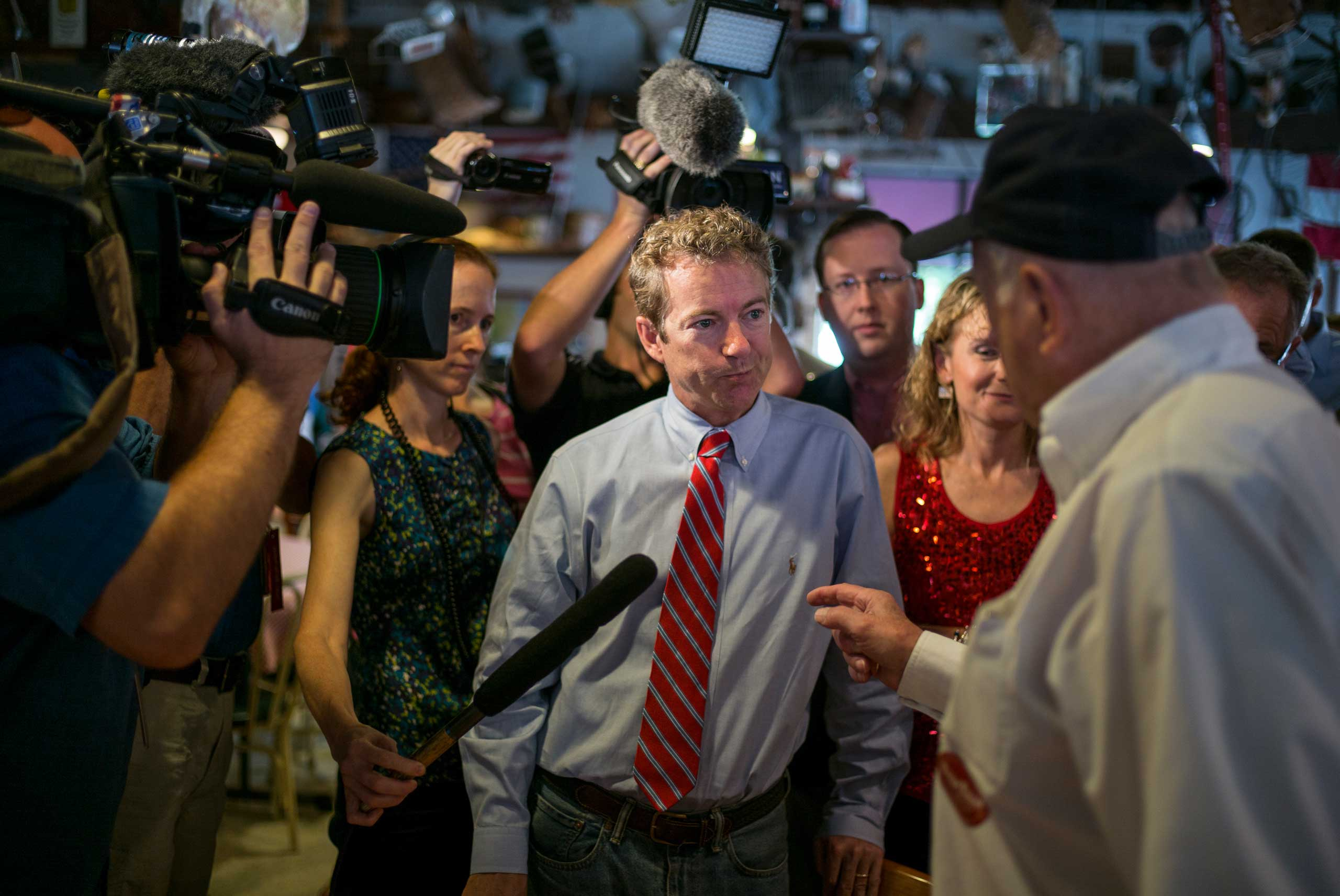 Senator Rand Paul and GOP Senatorial candidate Thom Tillis meet with diners at Big Ed's restaurant in Raleigh, N.C. on Oct. 1st, 2014.