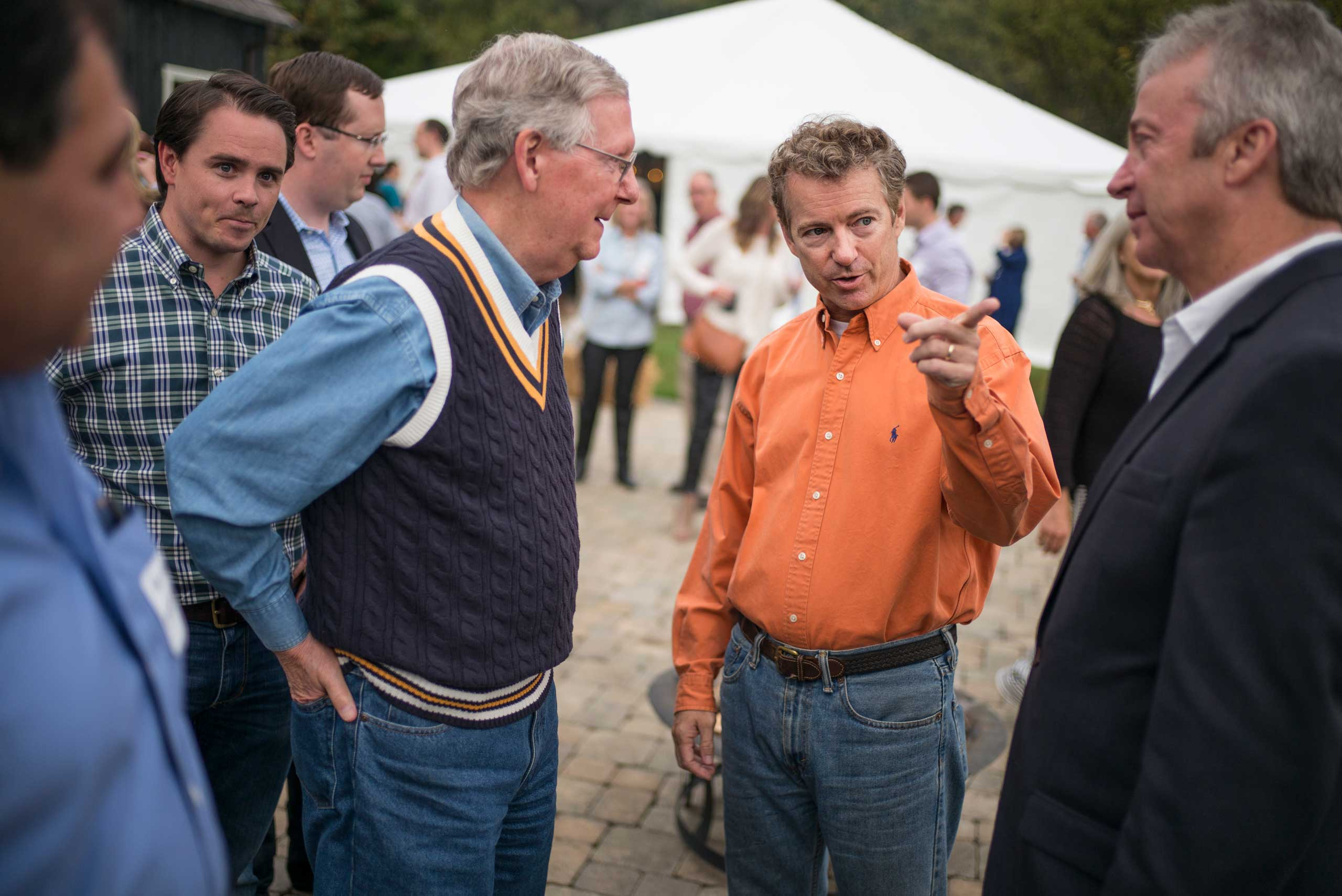 Senator Rand Paul and Senate minority leader Mitch McConnell attend a BBQ event at the Donnelly Barn in Bowling Green, Ky. on Oct. 12th, 2014.
