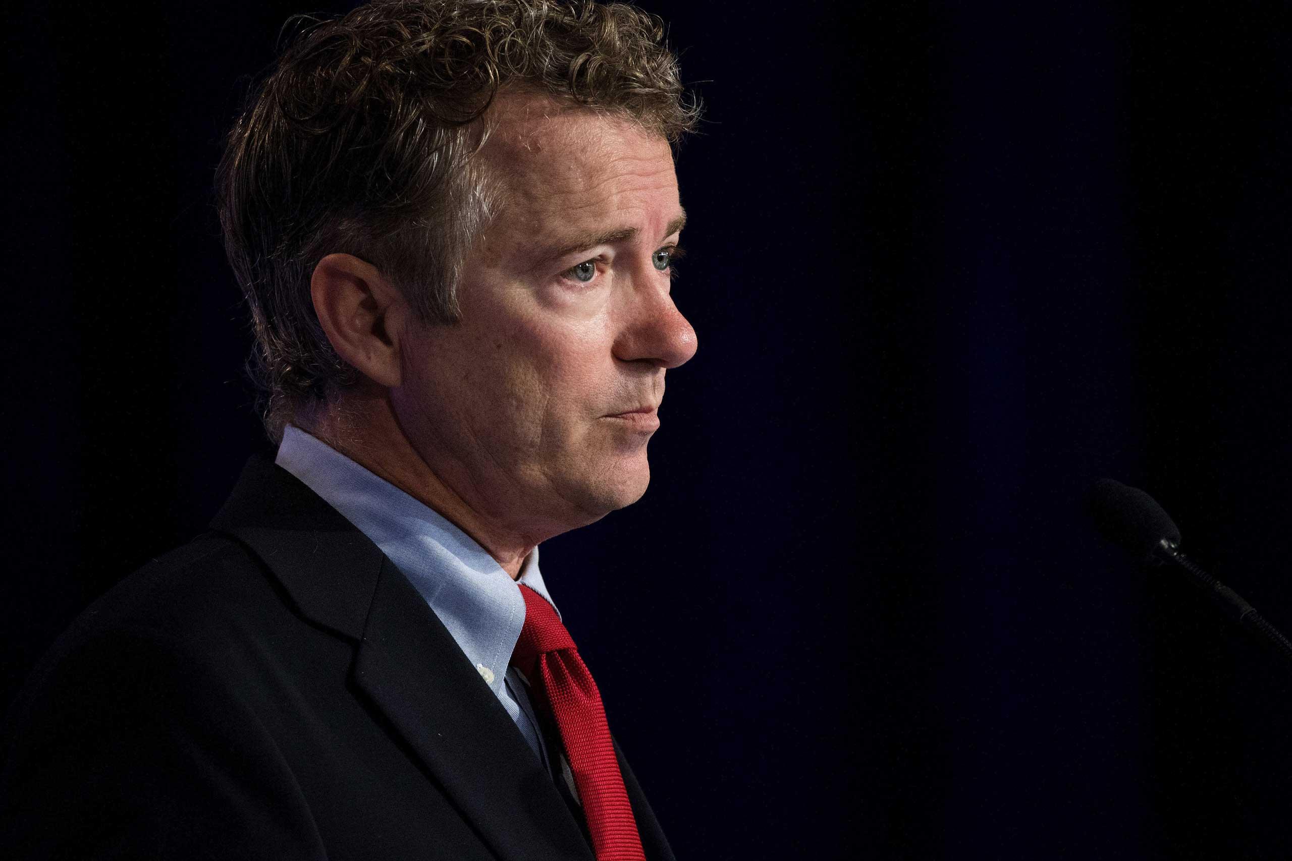 Sen. Rand Paul (R-Ky.) speaks at the Values Voter Summit in Washington, Sept. 26, 2014.