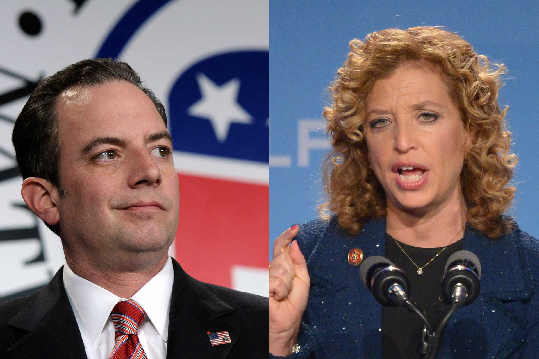 Left: Reince Priebus; Right: Debbie Wasserman-Schultz