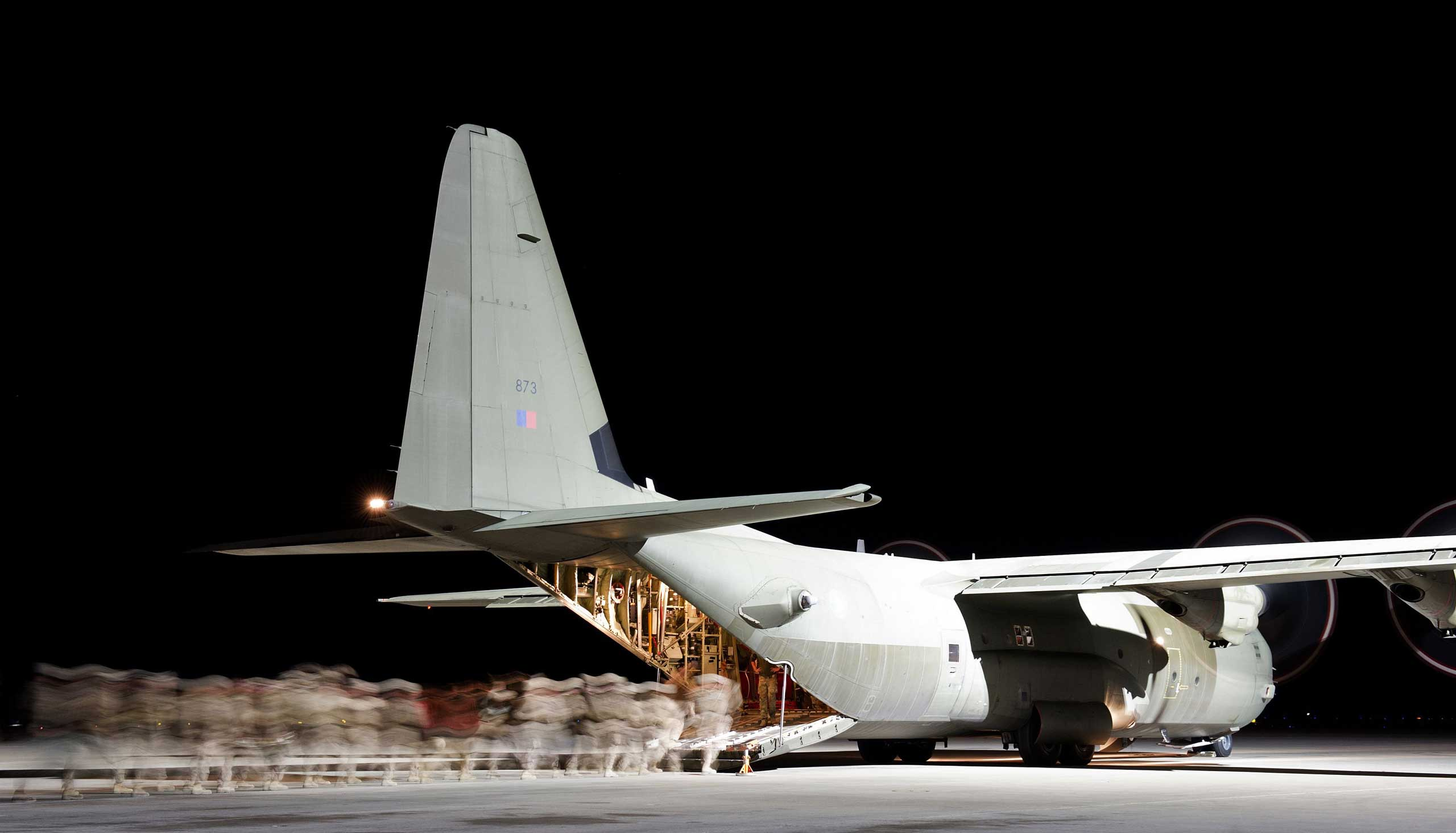 Oct. 27, 2014. British troops are pictured leaving Camp Bastion in Helmand Province, Afghanistan for the final time in the back of a RAF Hercules transporter aircraft.
