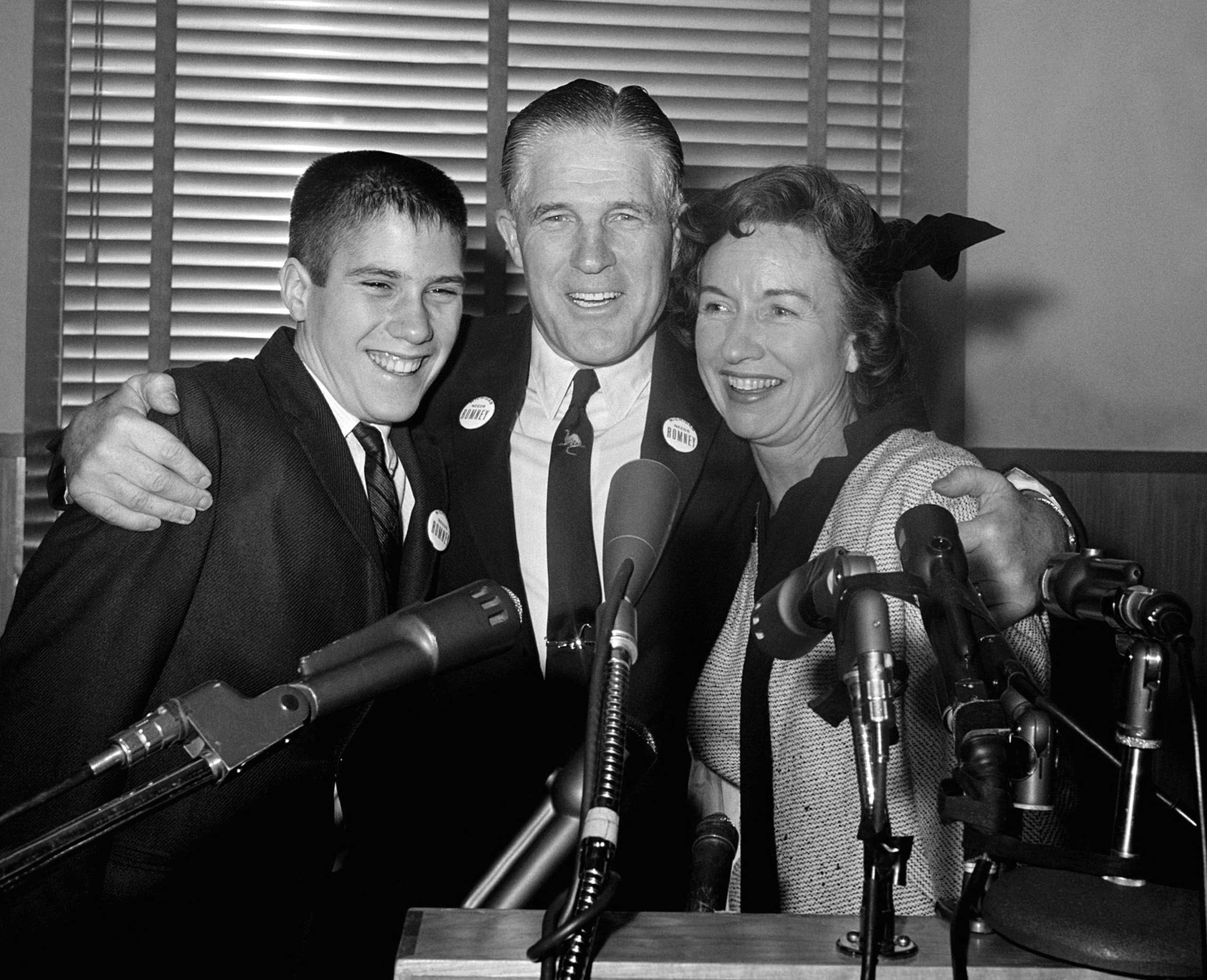 George Romney  announced his intention to run for governor of Michigan, with his son Mitt and his wife Lenore by his side, on February 10, 1962.
