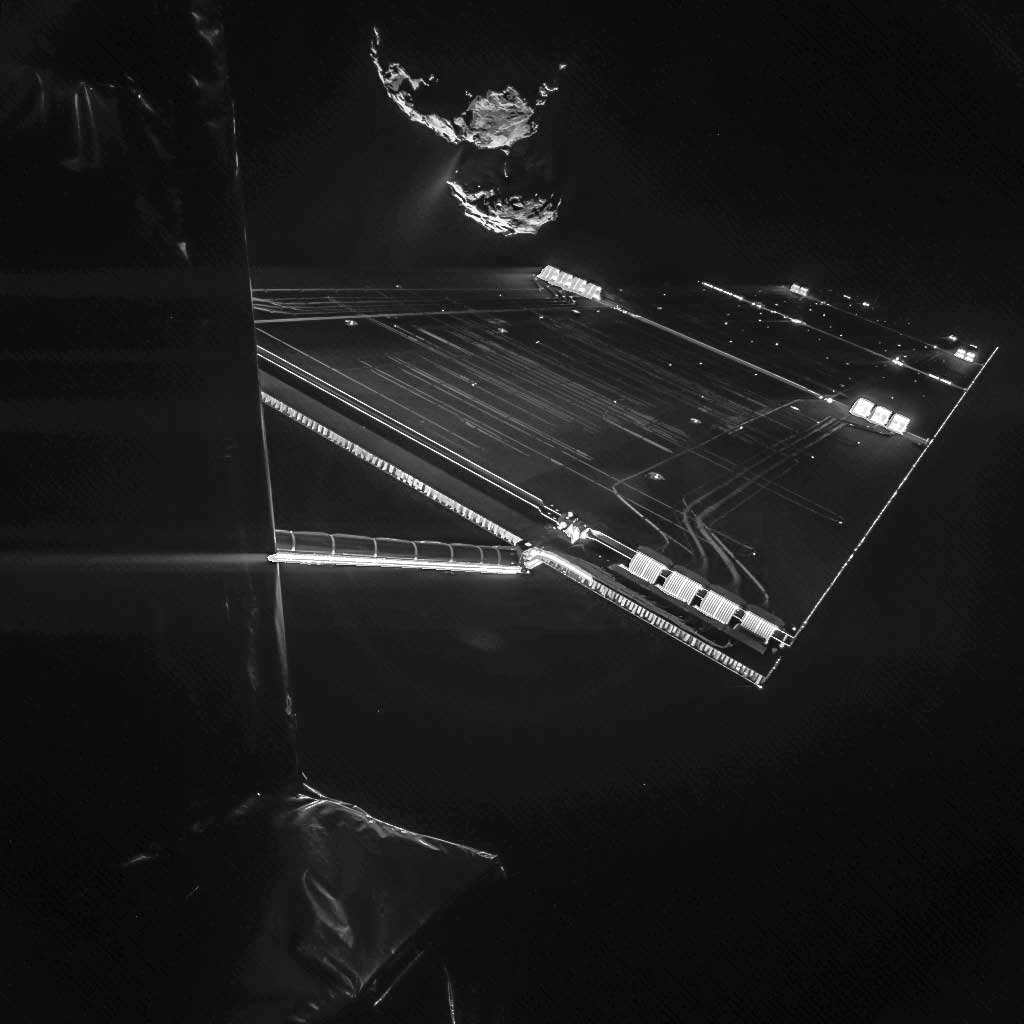 Using the CIVA camera on Rosetta's Philae lander, the spacecraft have snapped a 'selfie' at comet 67P/Churyumov–Gerasimenko from a distance of about 16 km from the surface of the comet. The image was taken on Oct. 7, 2014 and captures the side of the Rosetta spacecraft and one of Rosetta's 14 m-long solar wings, with the comet in the background.