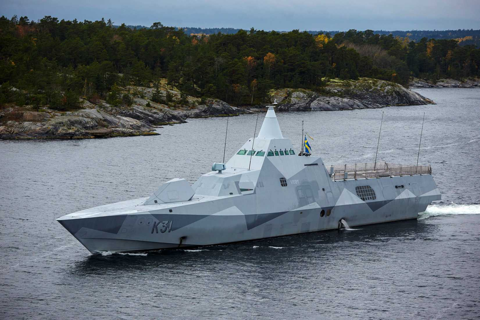 Swedish corvette HMS Visby patrols the Stockholm Archipelago October 19 2014, searching for what the military says is a foreign threat in the waters.