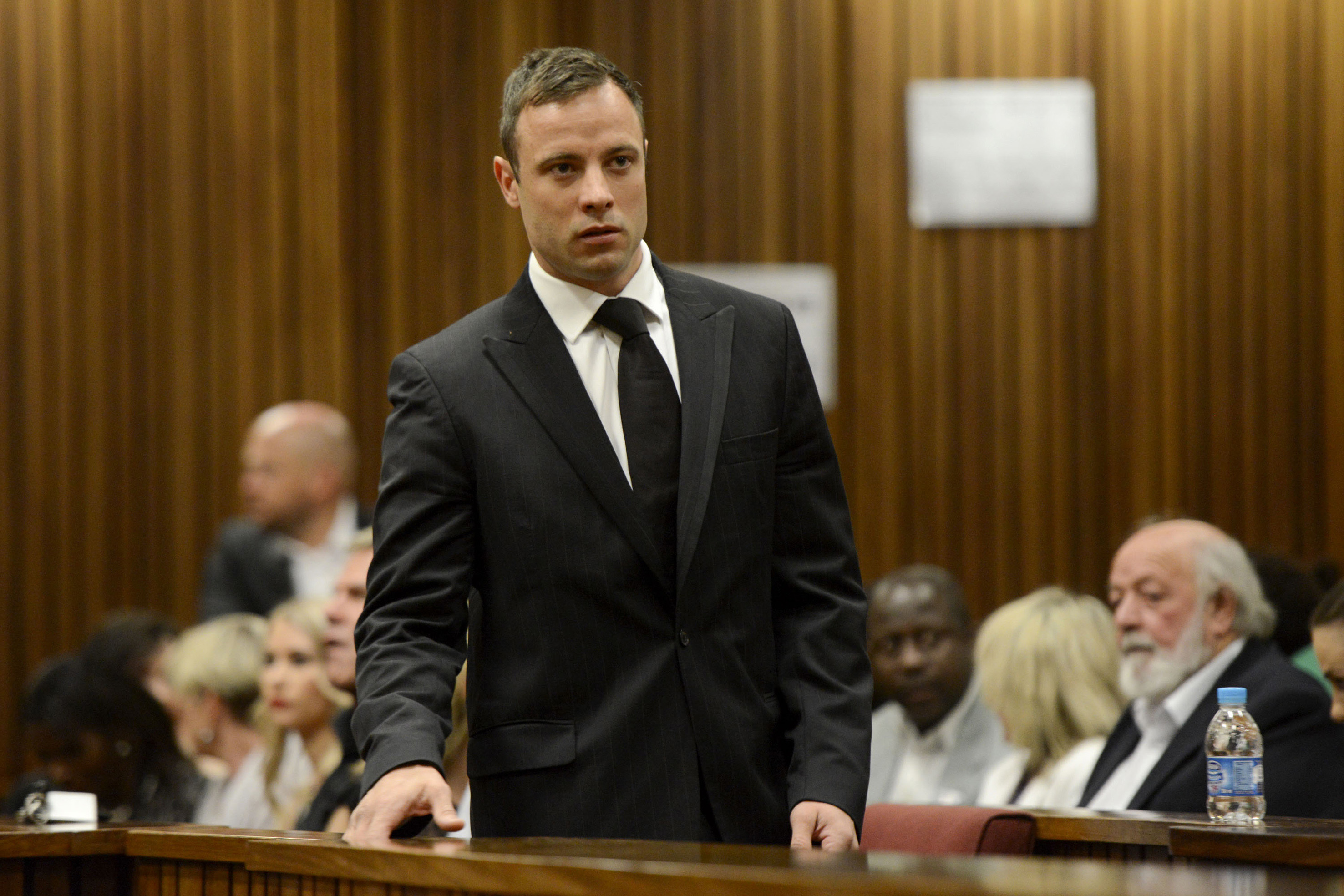 South African Olympic and Paralympic track star Oscar Pistorius attends his sentencing at the North Gauteng High Court in Pretoria Oct. 21, 2014