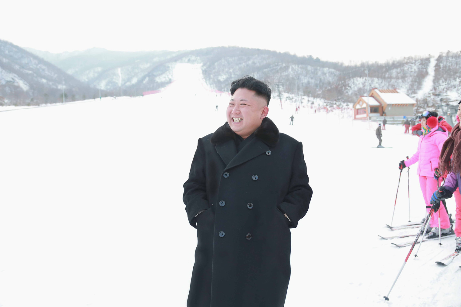 North Korean leader Kim Jong Un visits the newly built ski resort in the Masik Pass region, in this undated photo released by North Korea's Korean Central News Agency (KCNA) in Pyongyang on December 31, 2013. North Korea's state-run television KRT said Kim was satisfied with the ski resort after looking around its facilities which included a hotel, ski service and rental shops.